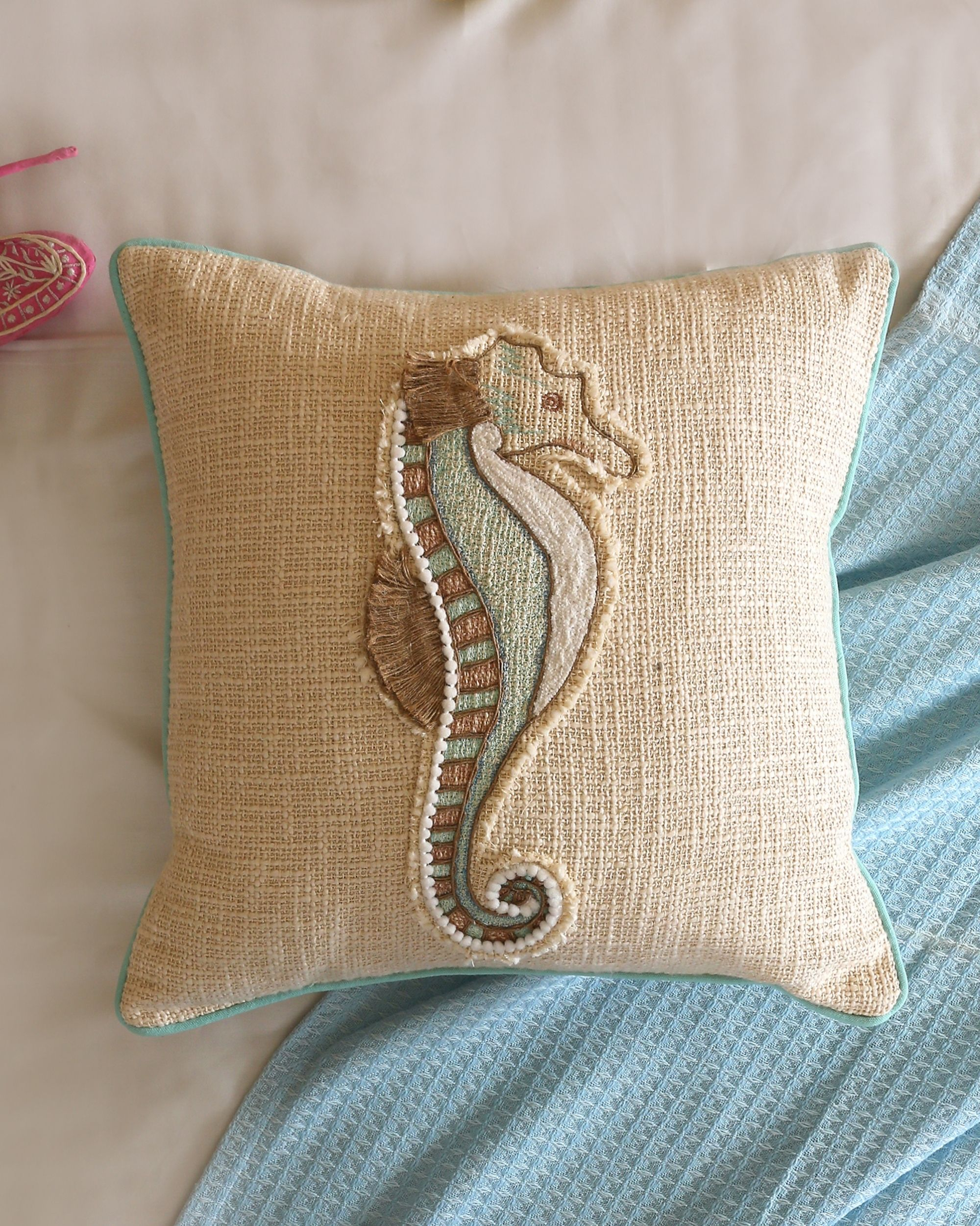 Sea horse embroidered cushion cover
