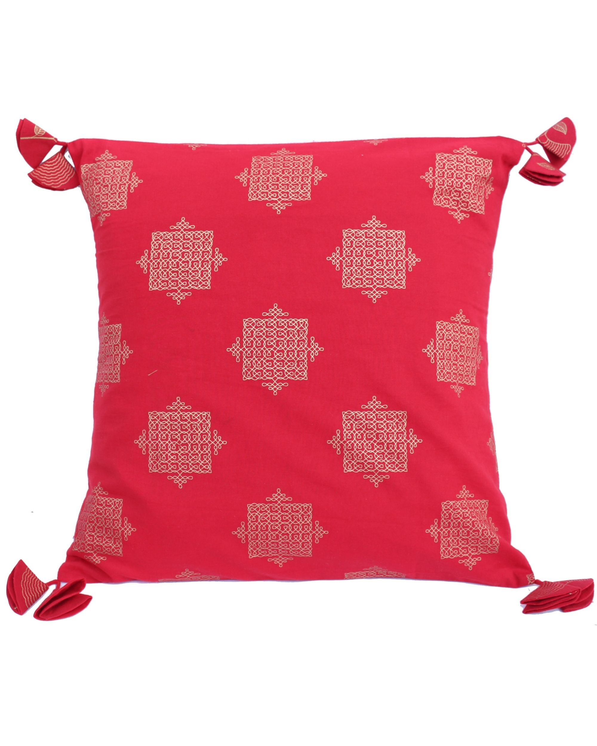 Red and golden jaali printed cushion cover - set of two (small)