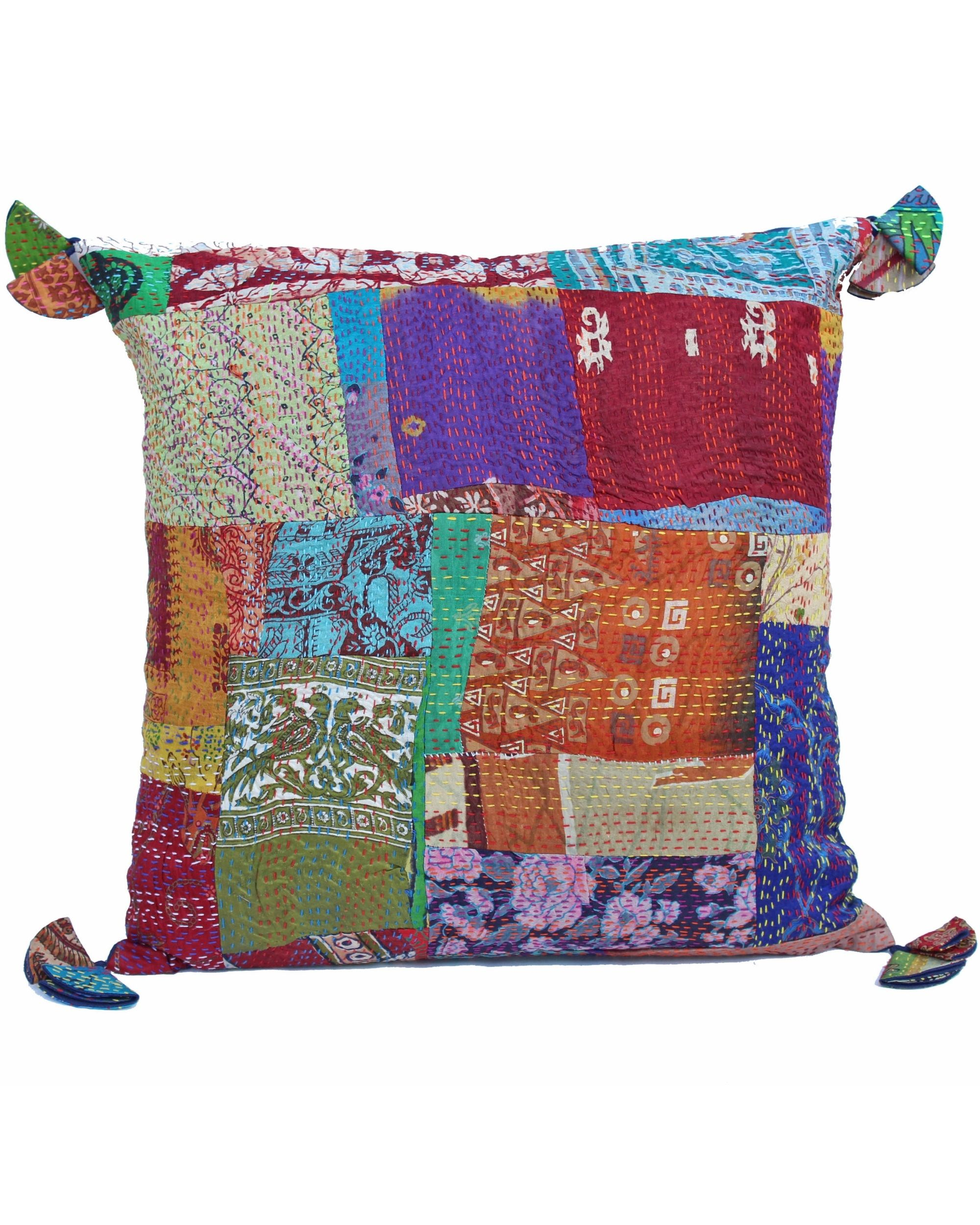 Vintage silk kantha cushion cover - small