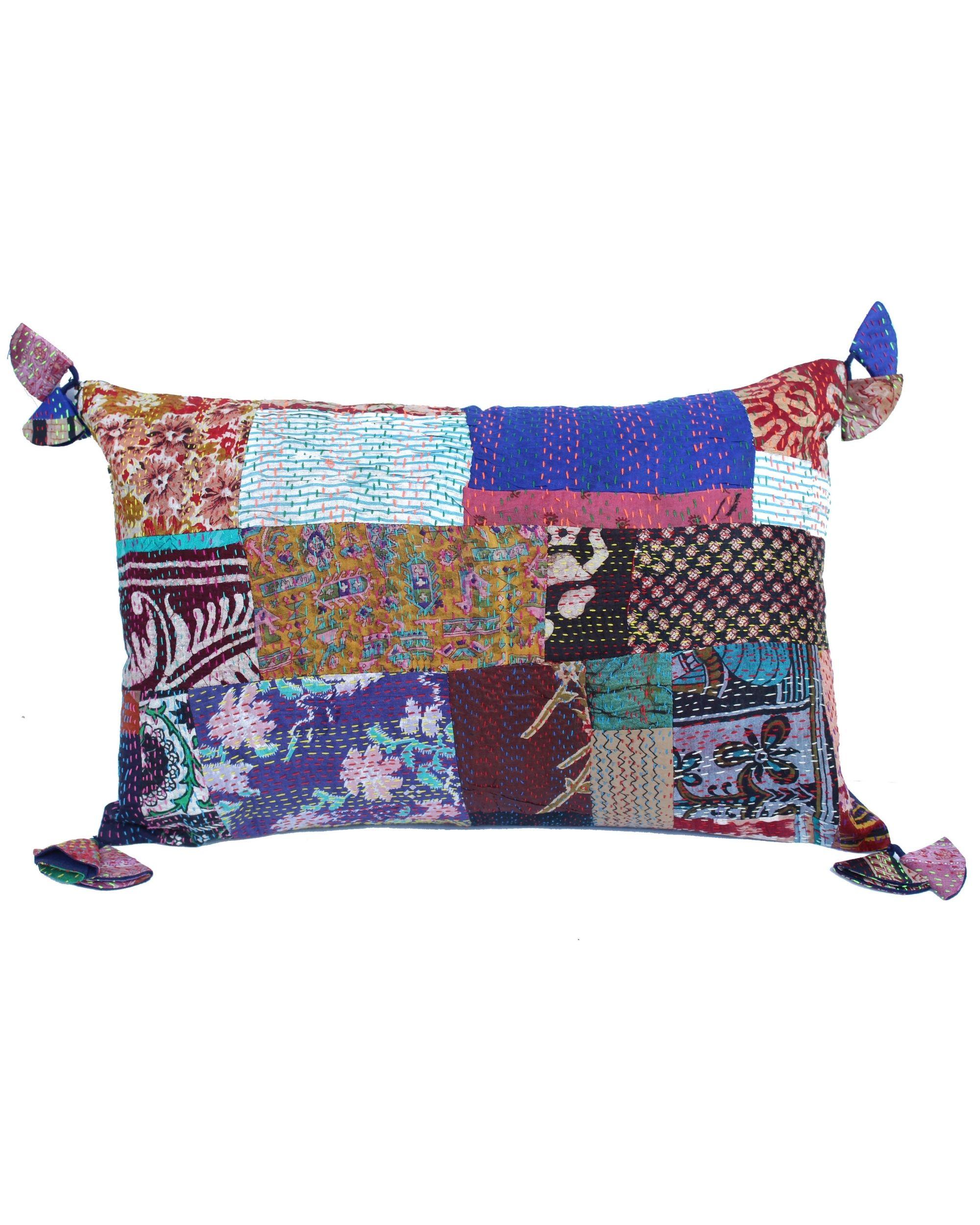 Vintage silk kantha pillow cover