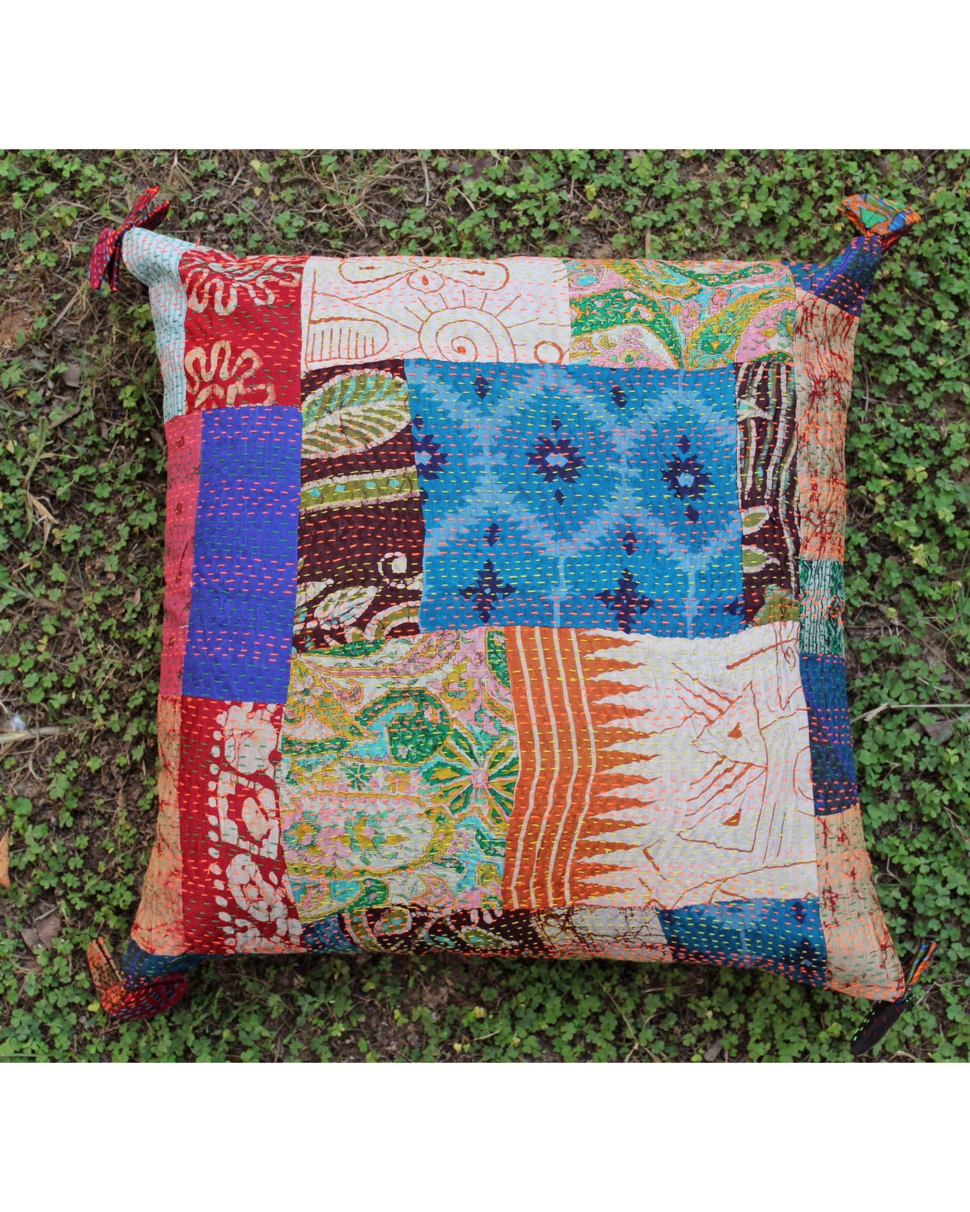 Vintage silk kantha cushion cover - large