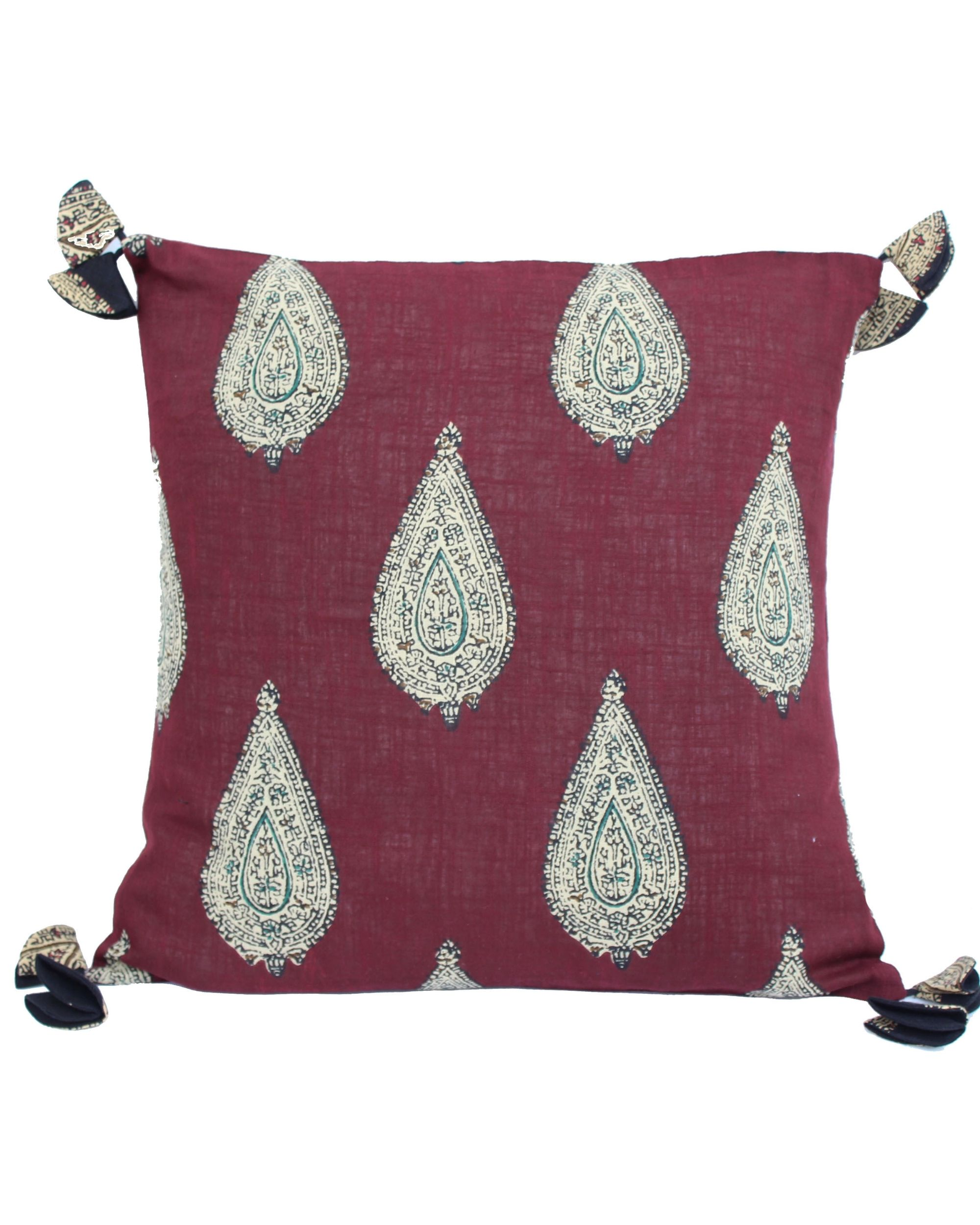 Red kalamkari paisely printed cushion cover - set of two (small)