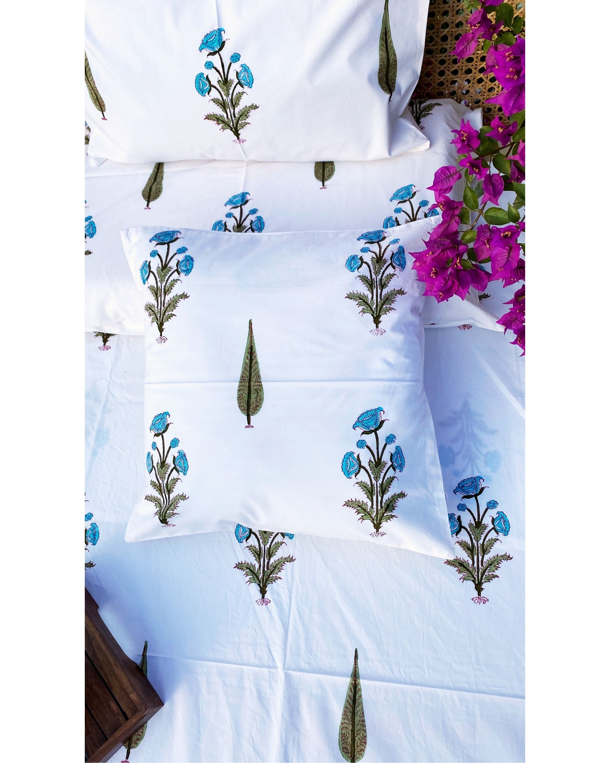 Blue cypress square and lumbar cushion covers - set of 4