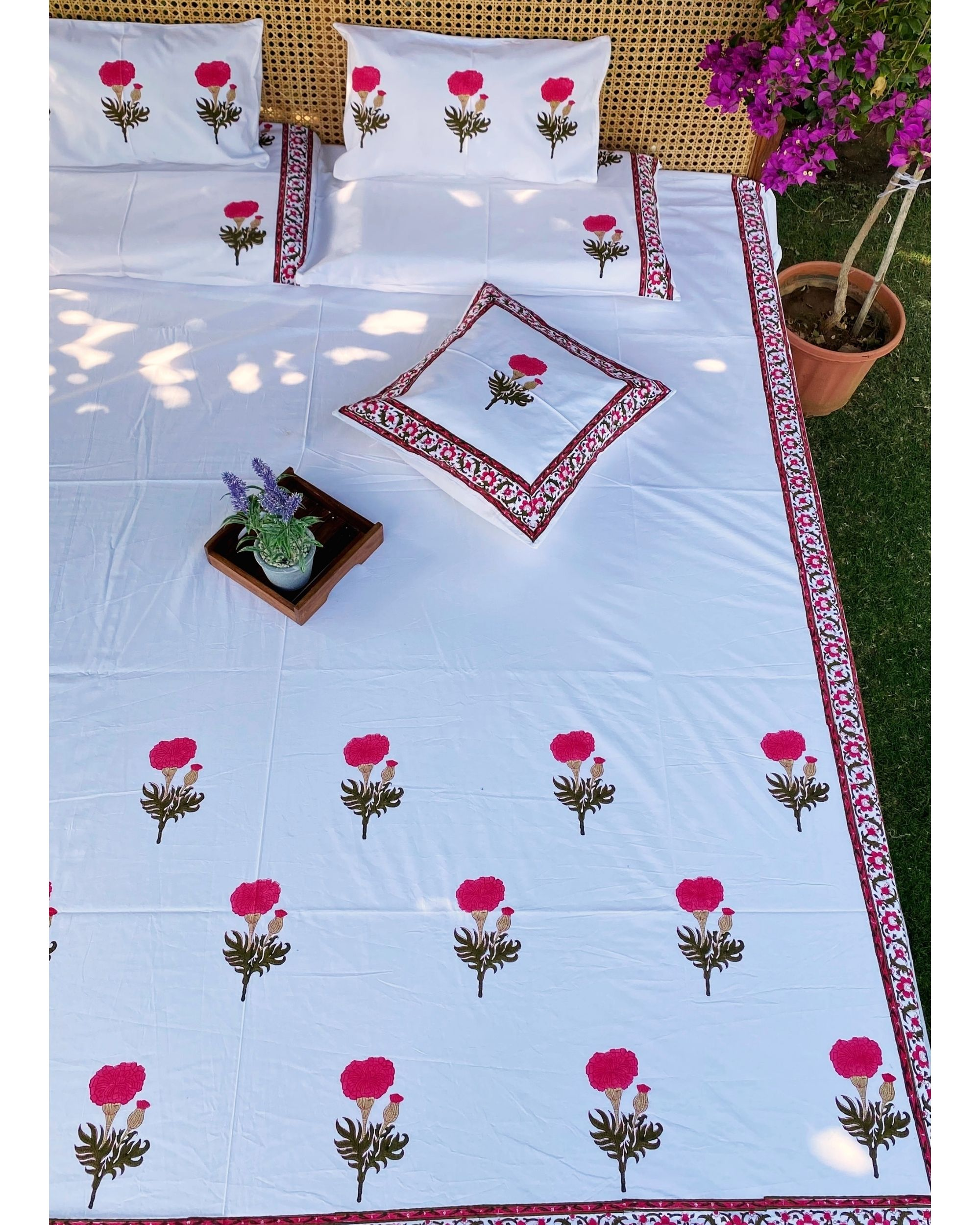Pink marigold  square and lumbar cushion covers - set of 4