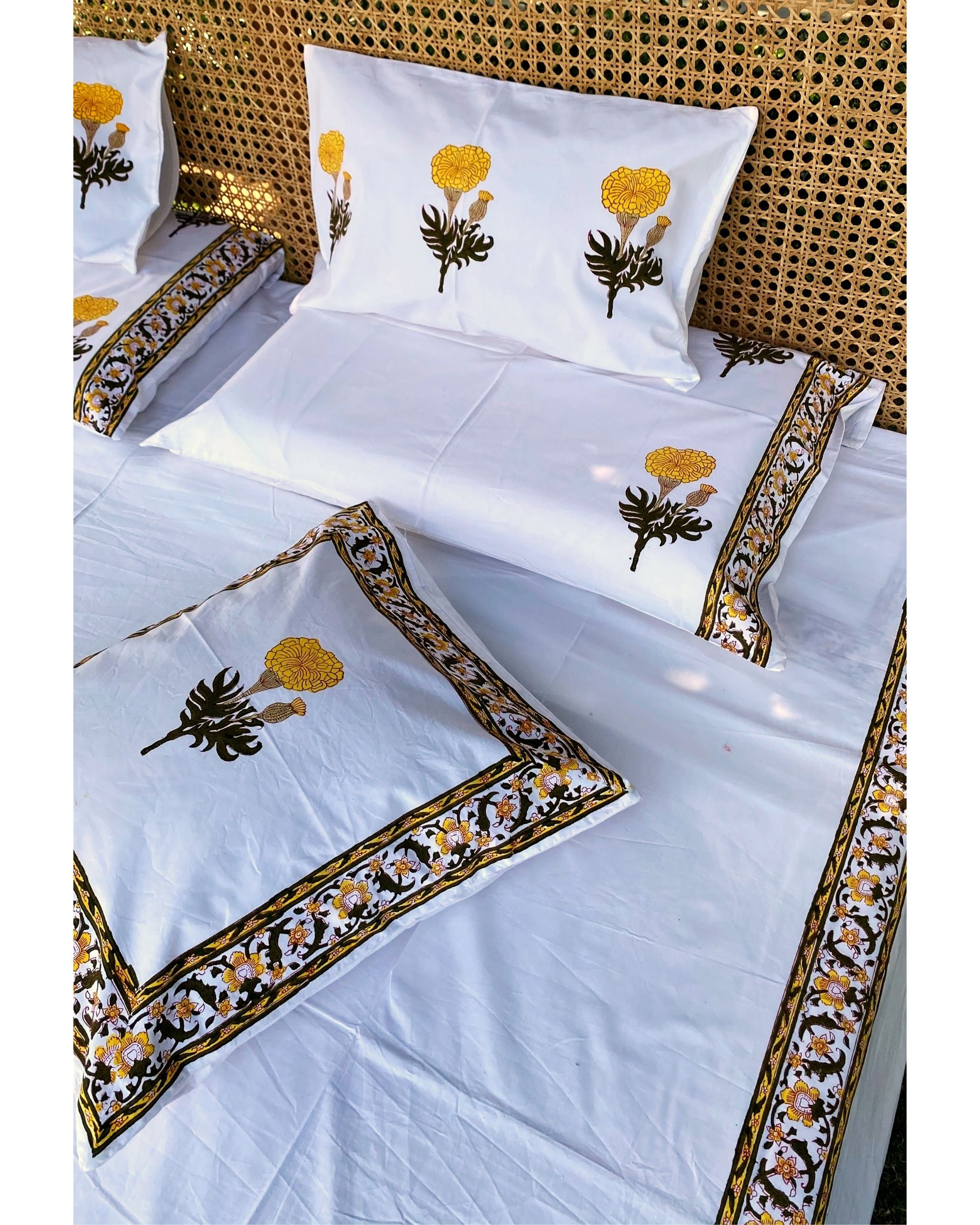 Yellow marigold square and lumbar cushion covers - set of 4