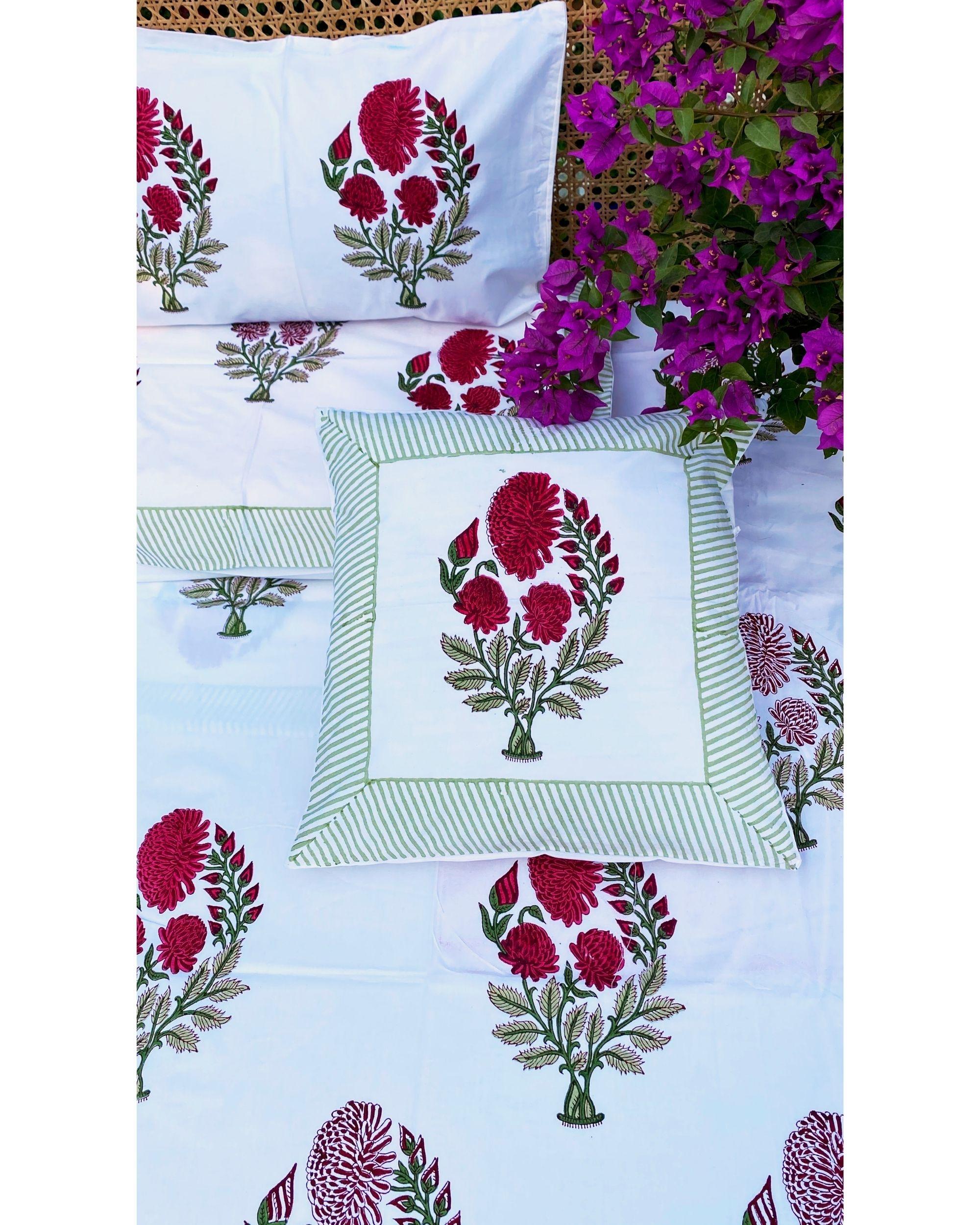 Rani pink mughal square and lumbar cushion covers - set of 4