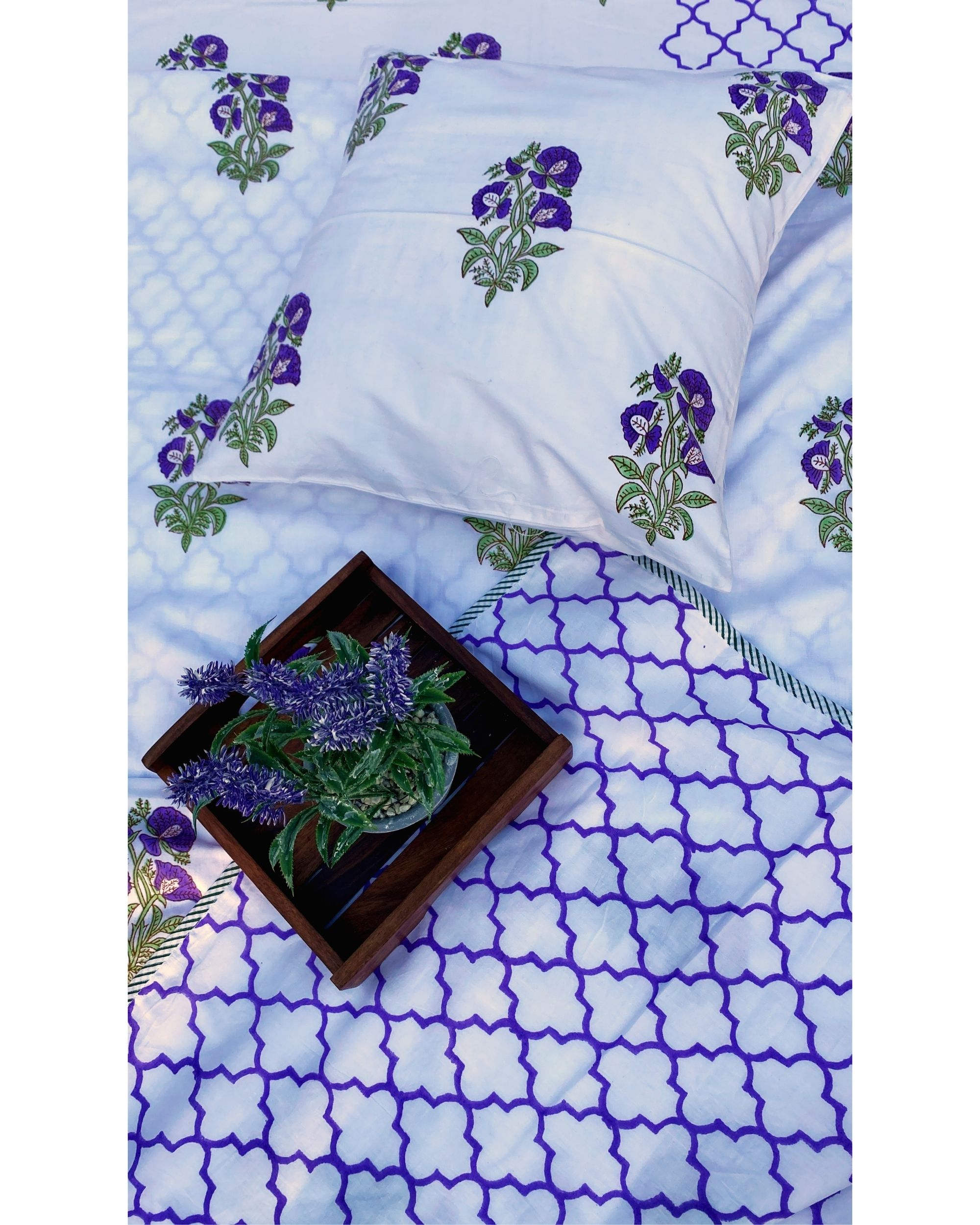 Lavender bootah & jaali square and lumbar cushion covers - set of 4