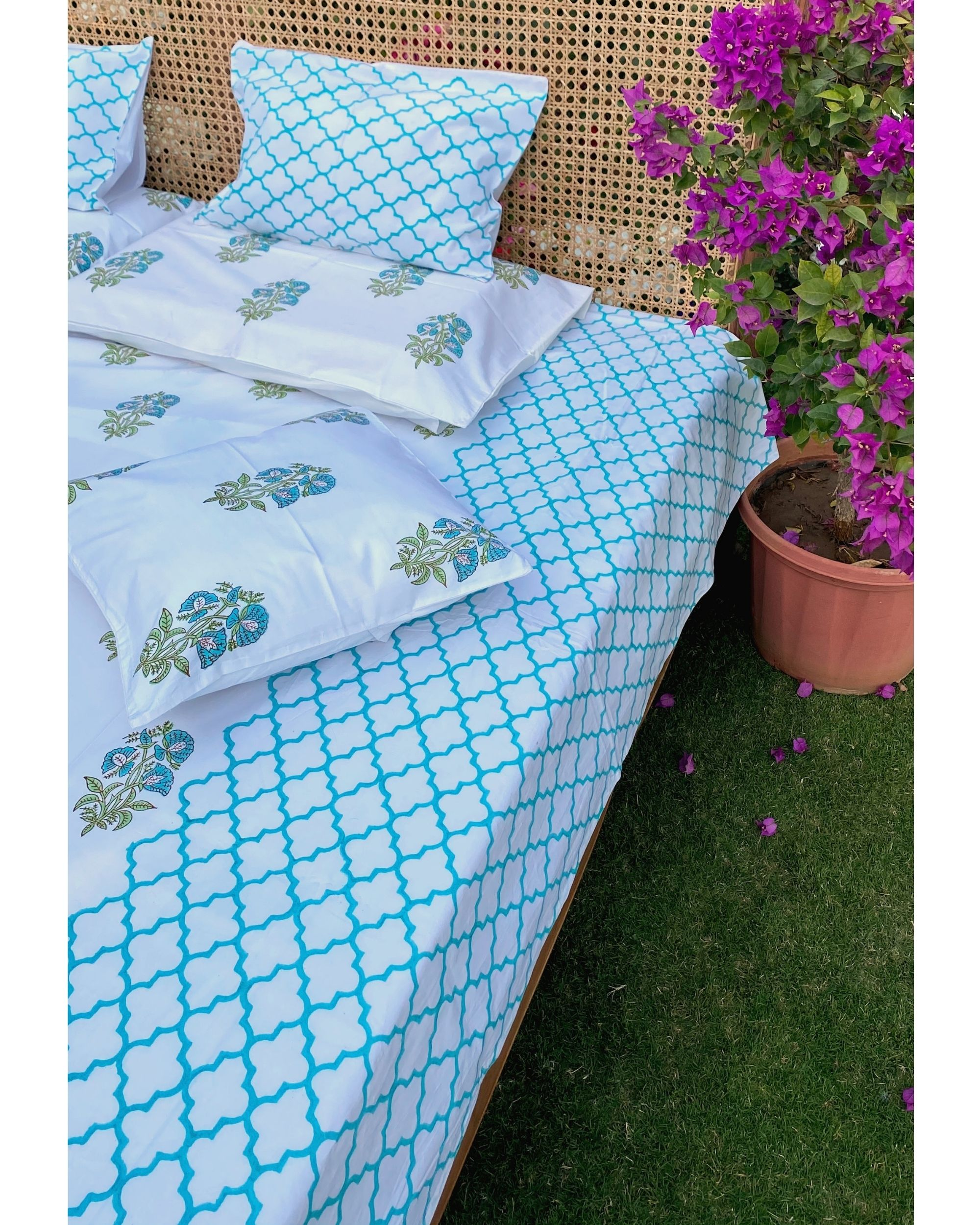 Blue bootah & jaali square and lumbar cushion covers - set of 4