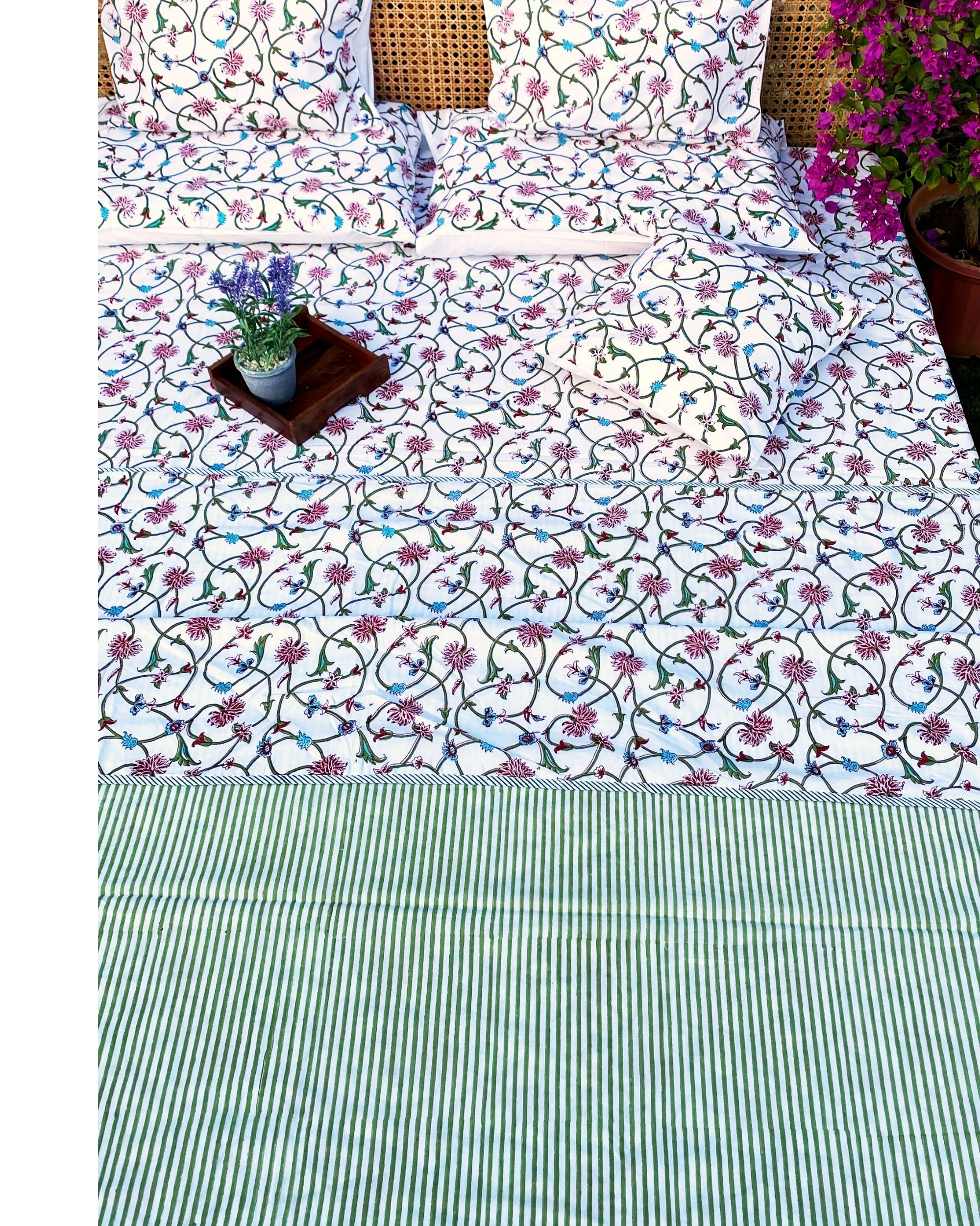 Floral jaal square and lumbar cushion covers - set of 4