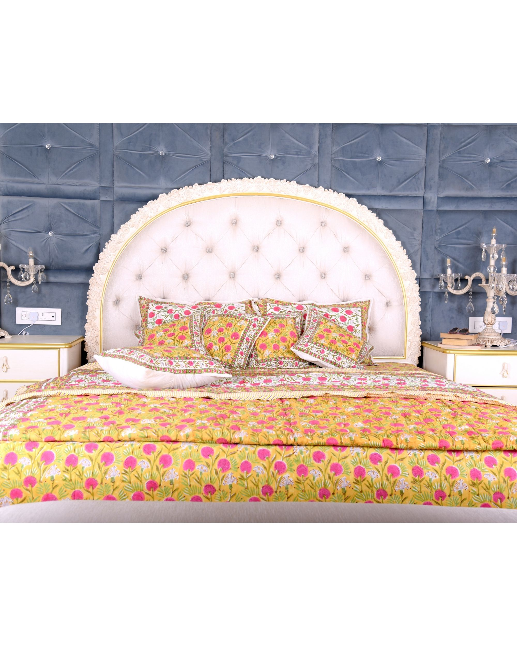 Yellow and pink floral king size bed sheet