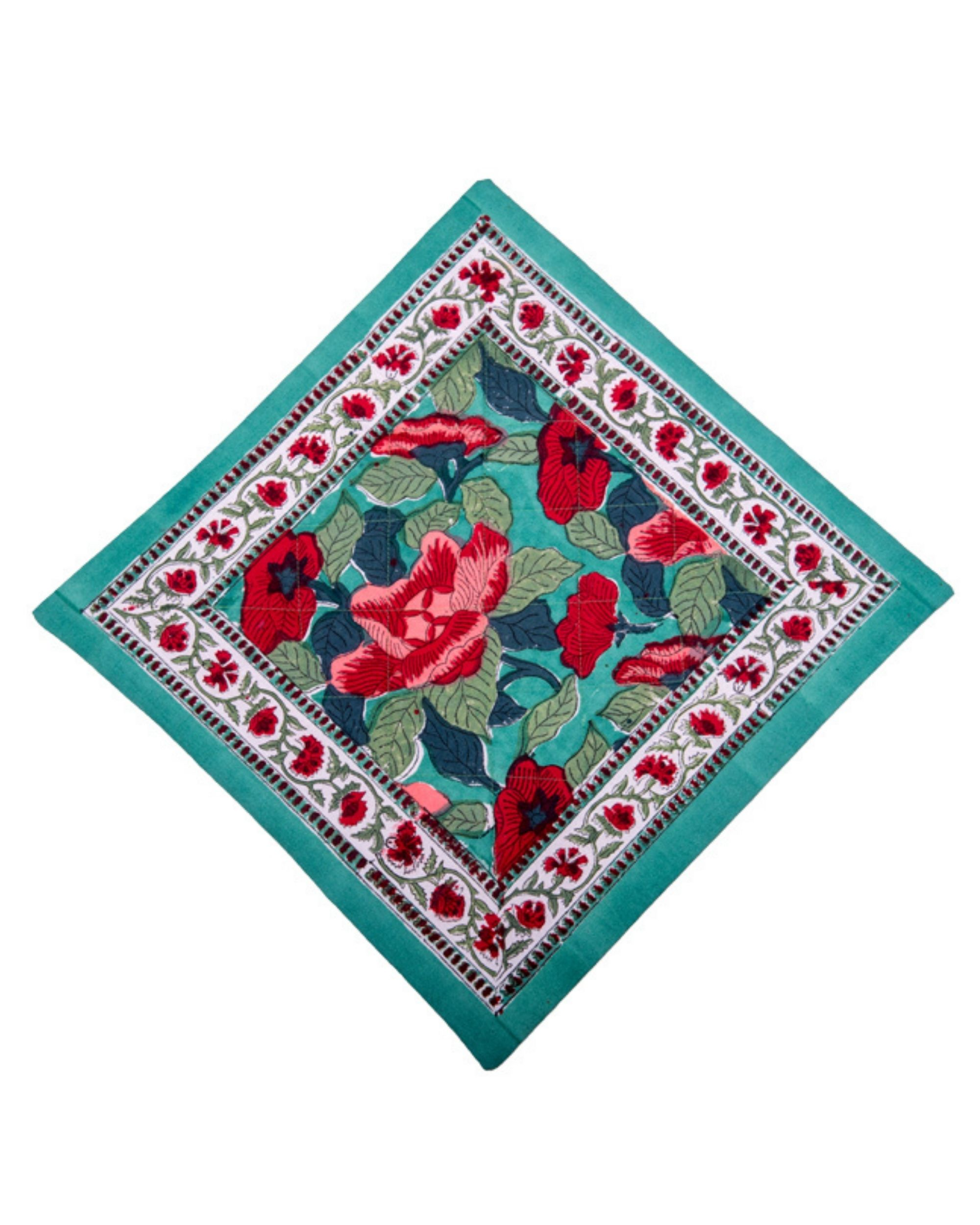 Green and red floral printed quilted cushion covers - set of 5