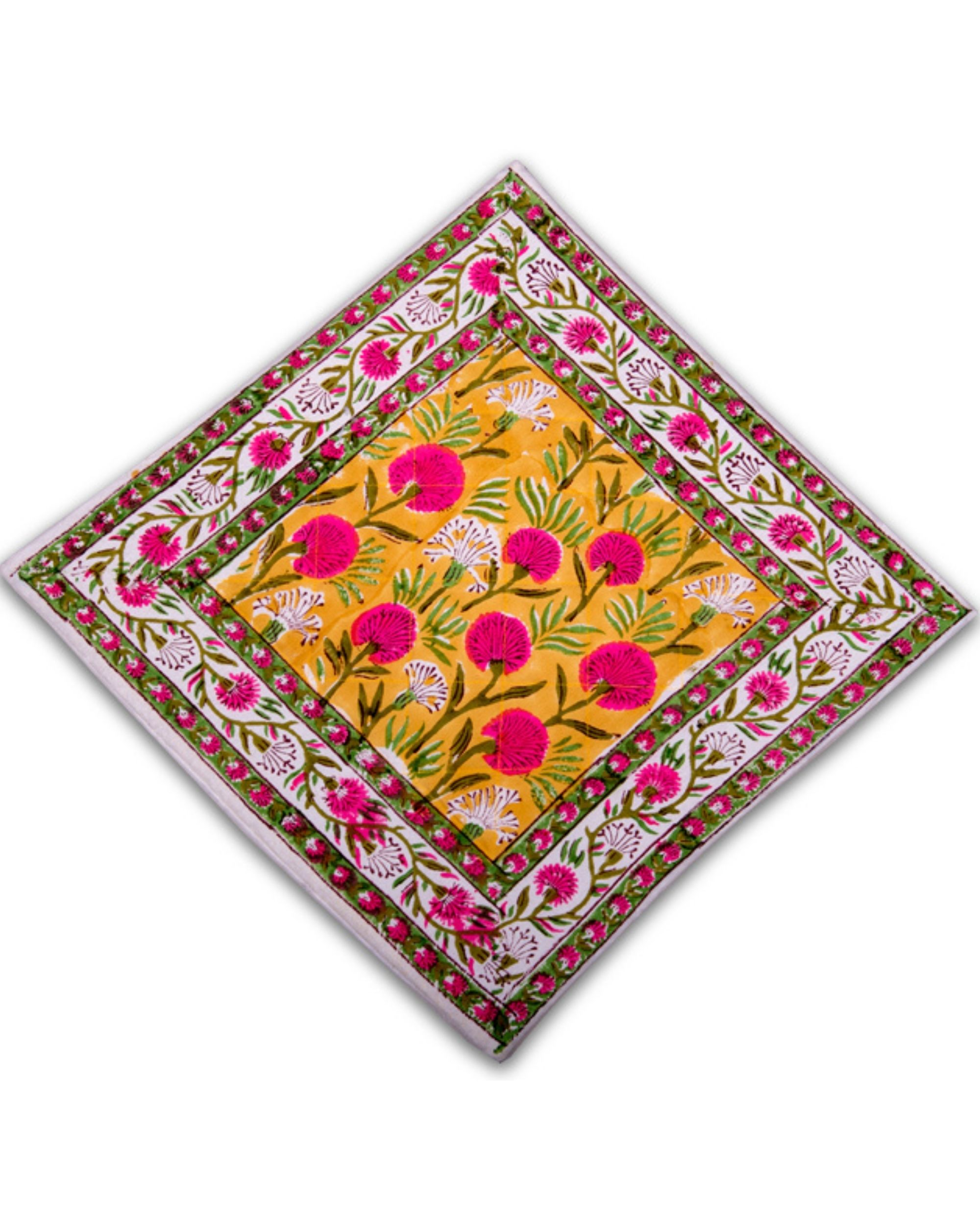 Yellow and pink floral printed quilted cushion covers - set of 5