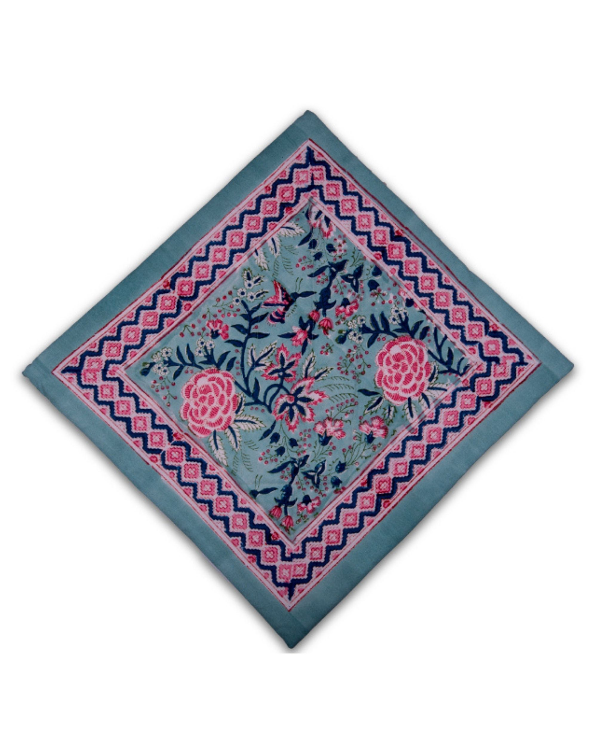 Green and pink floral printed quilted cushion covers - set of 2