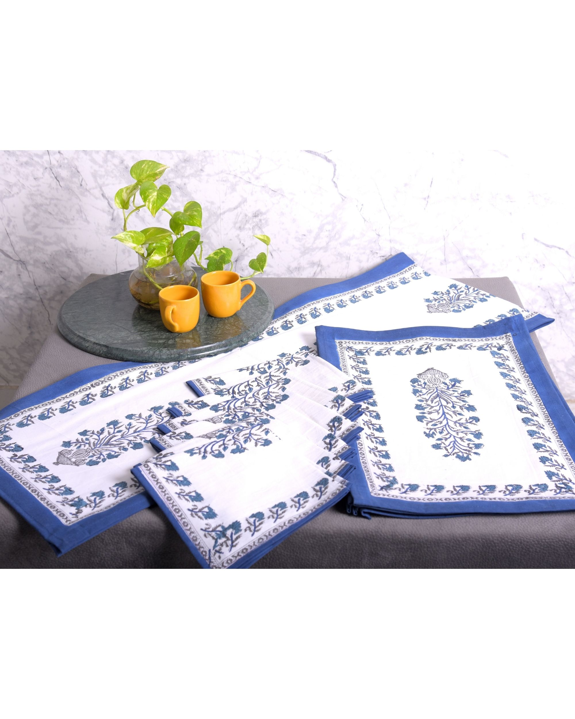 White and blue floral printed table runner, table mats and napkins - set of 13
