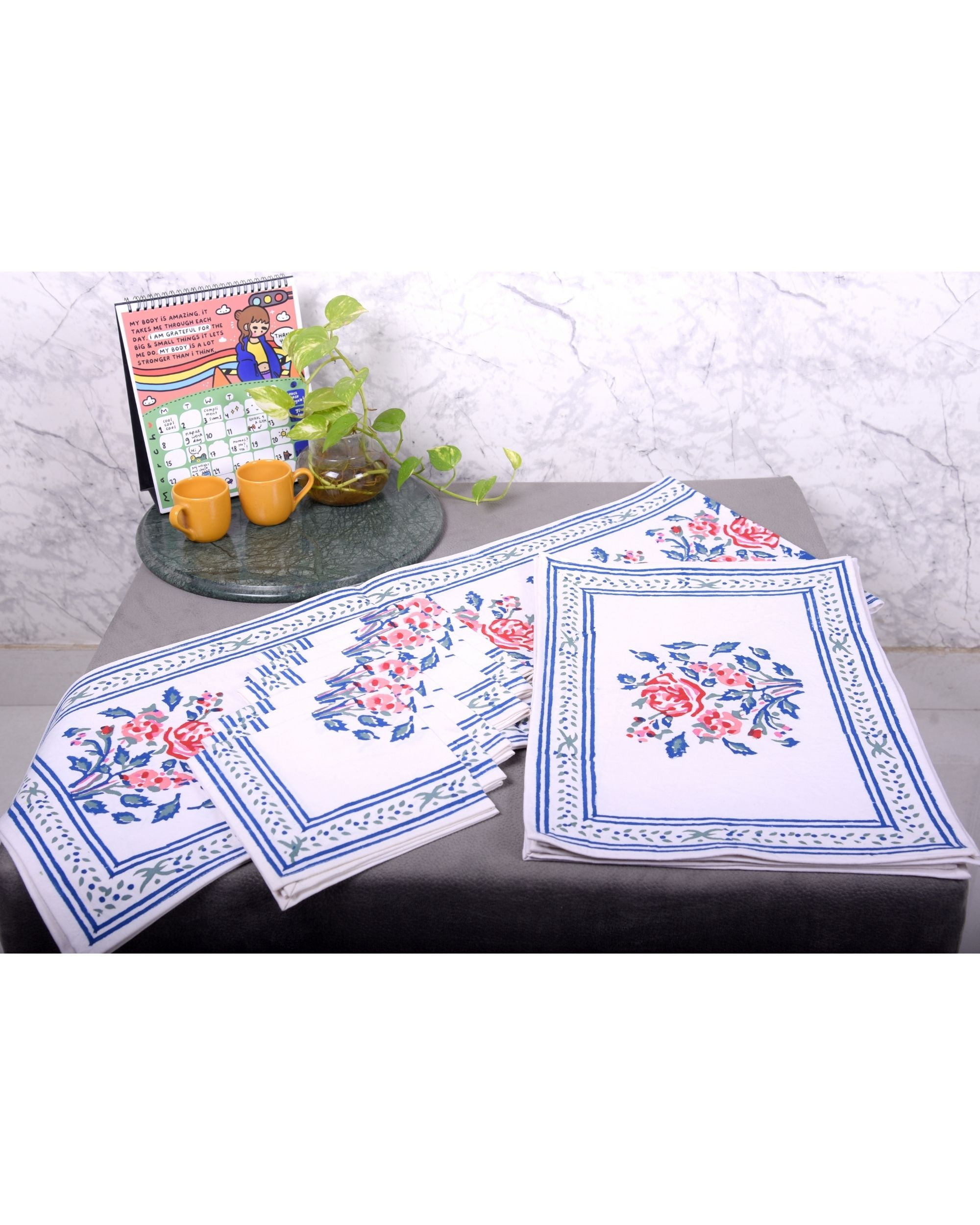 Blue floral printed table runner, table mats and napkins - set of 13