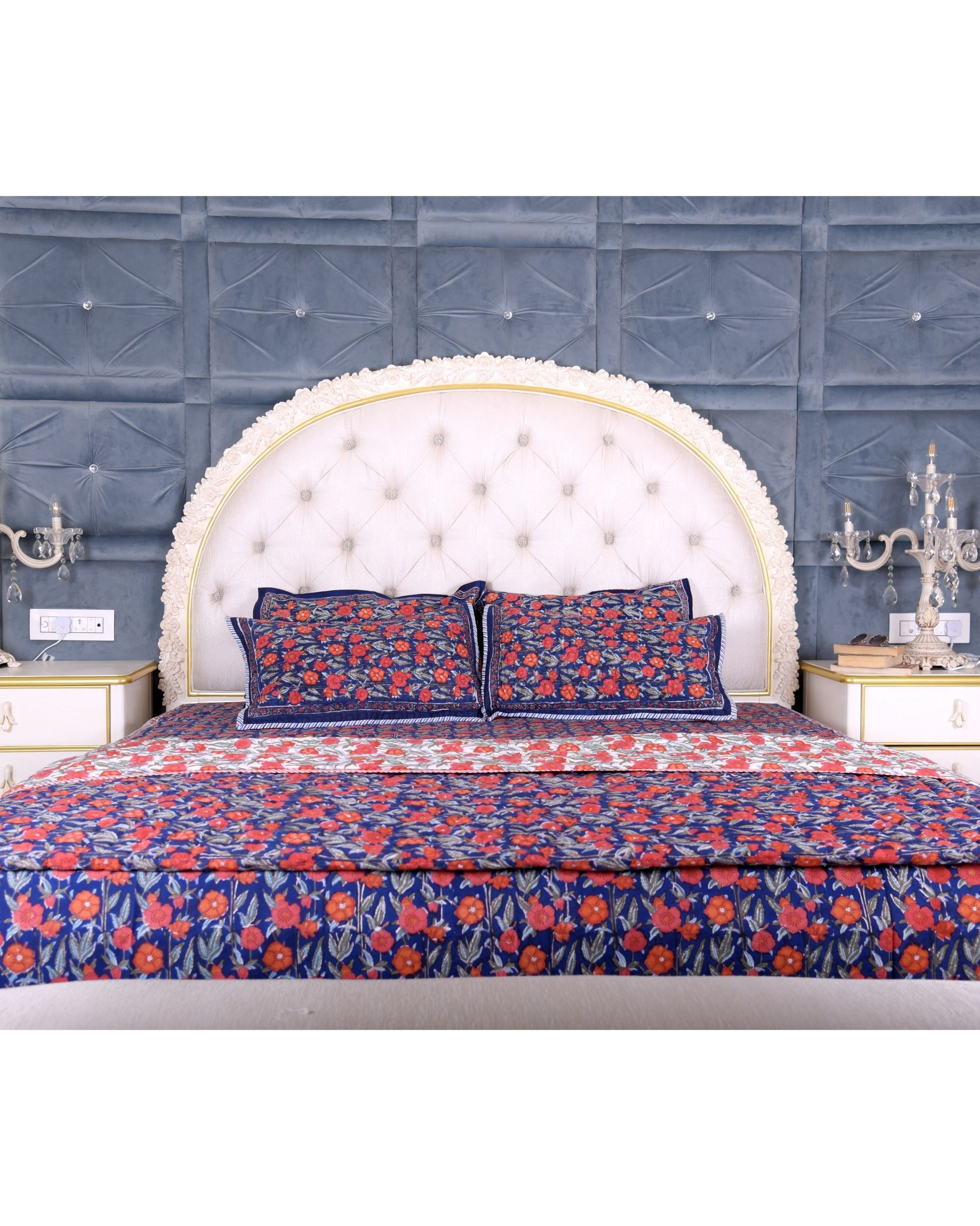Dark blue floral king size bed sheet