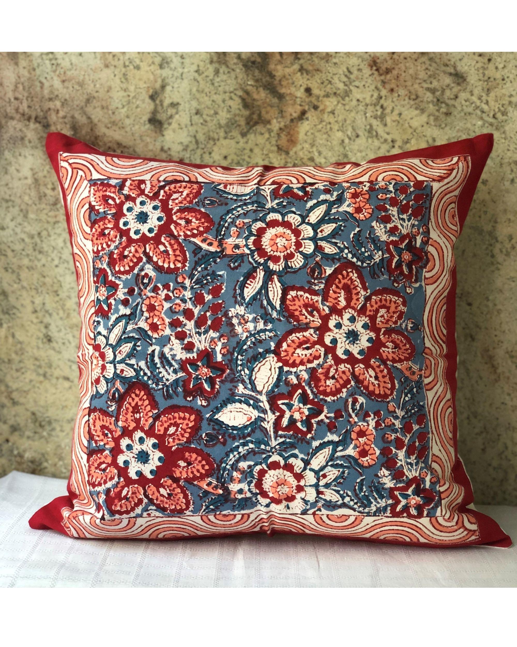 Indigo and red floral sanganeri handblock printed cushion cover - set of two
