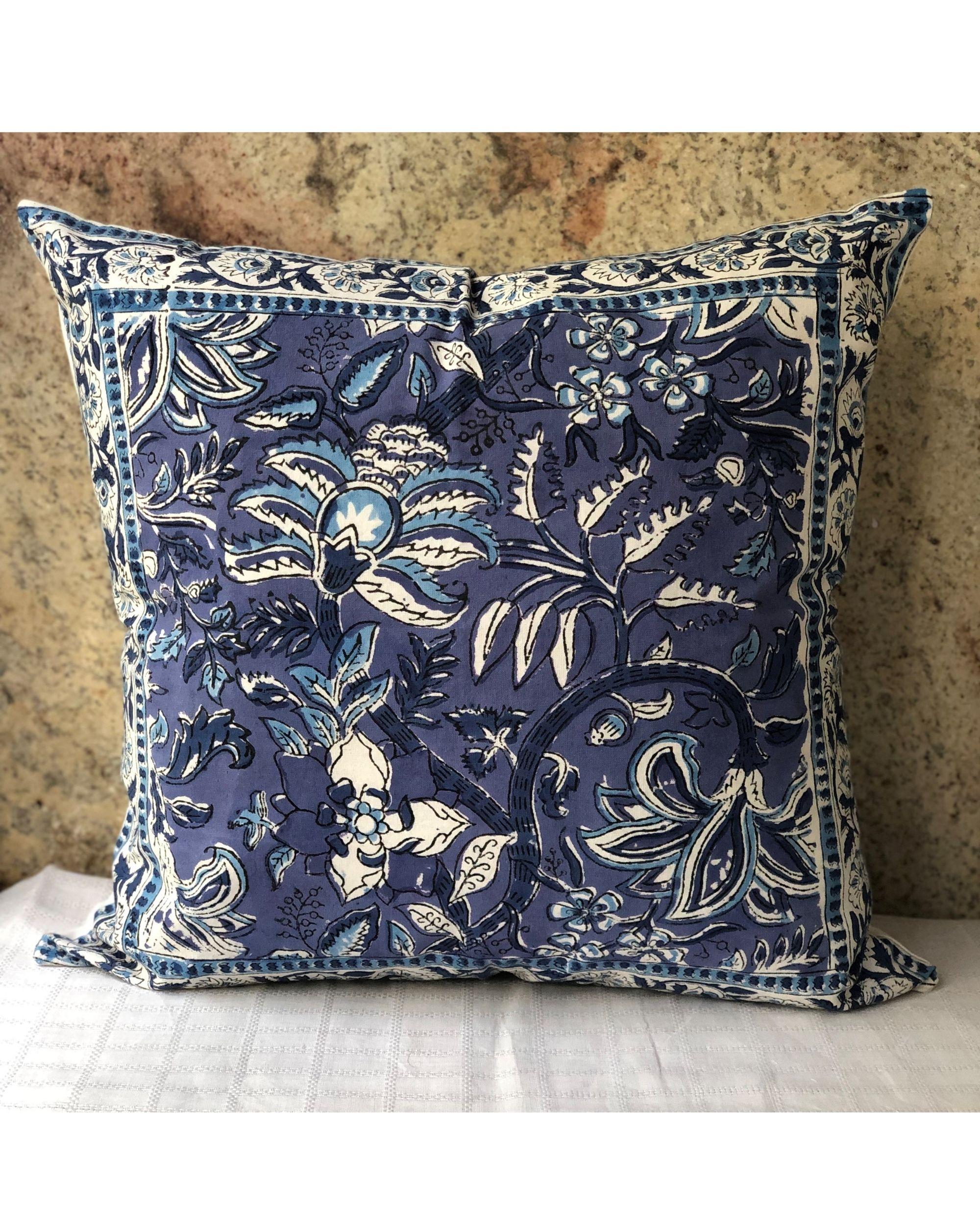 Indigo floral handblock printed cushion cover - set of two