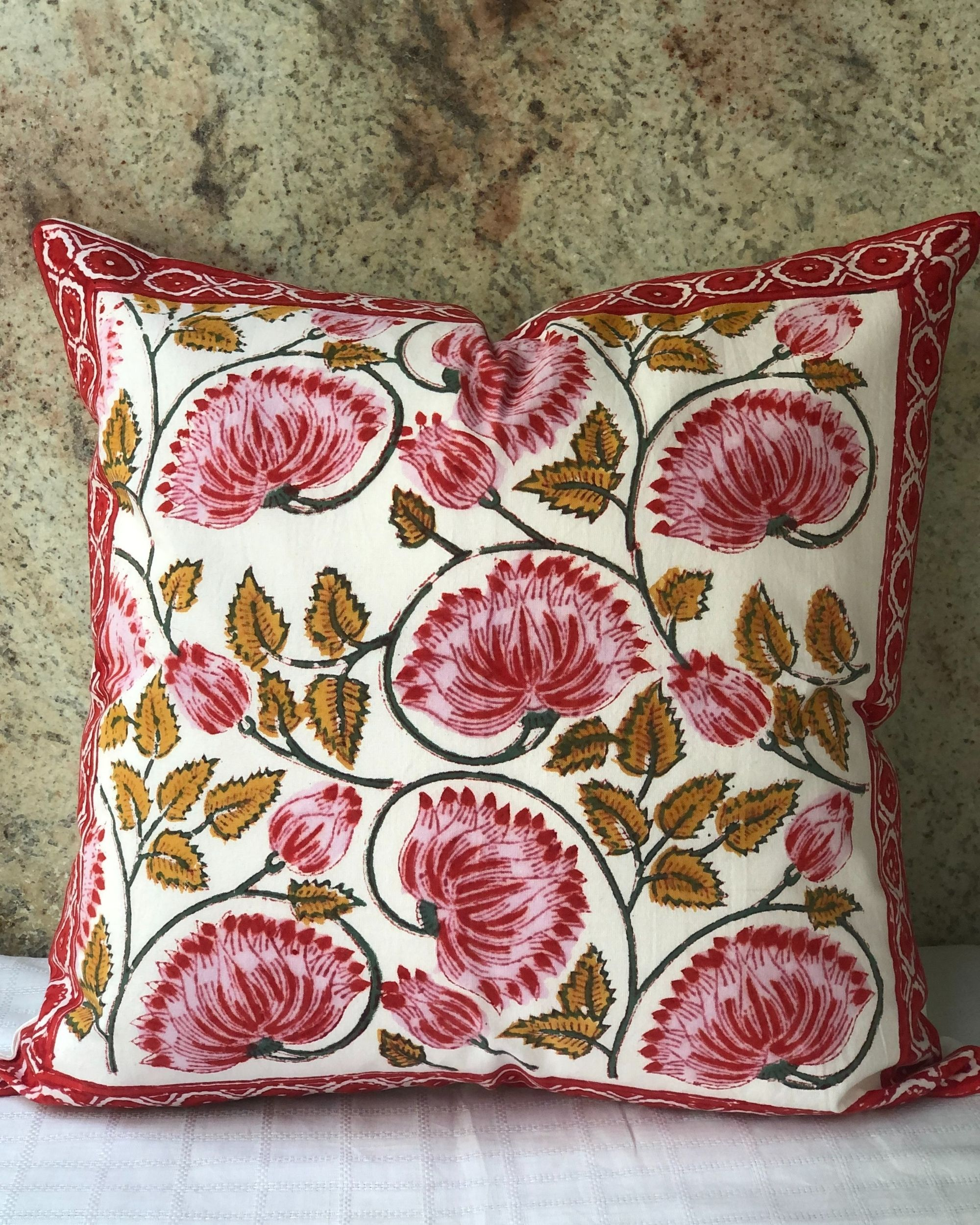Red and white floral hand block printed cushion cover - set of two