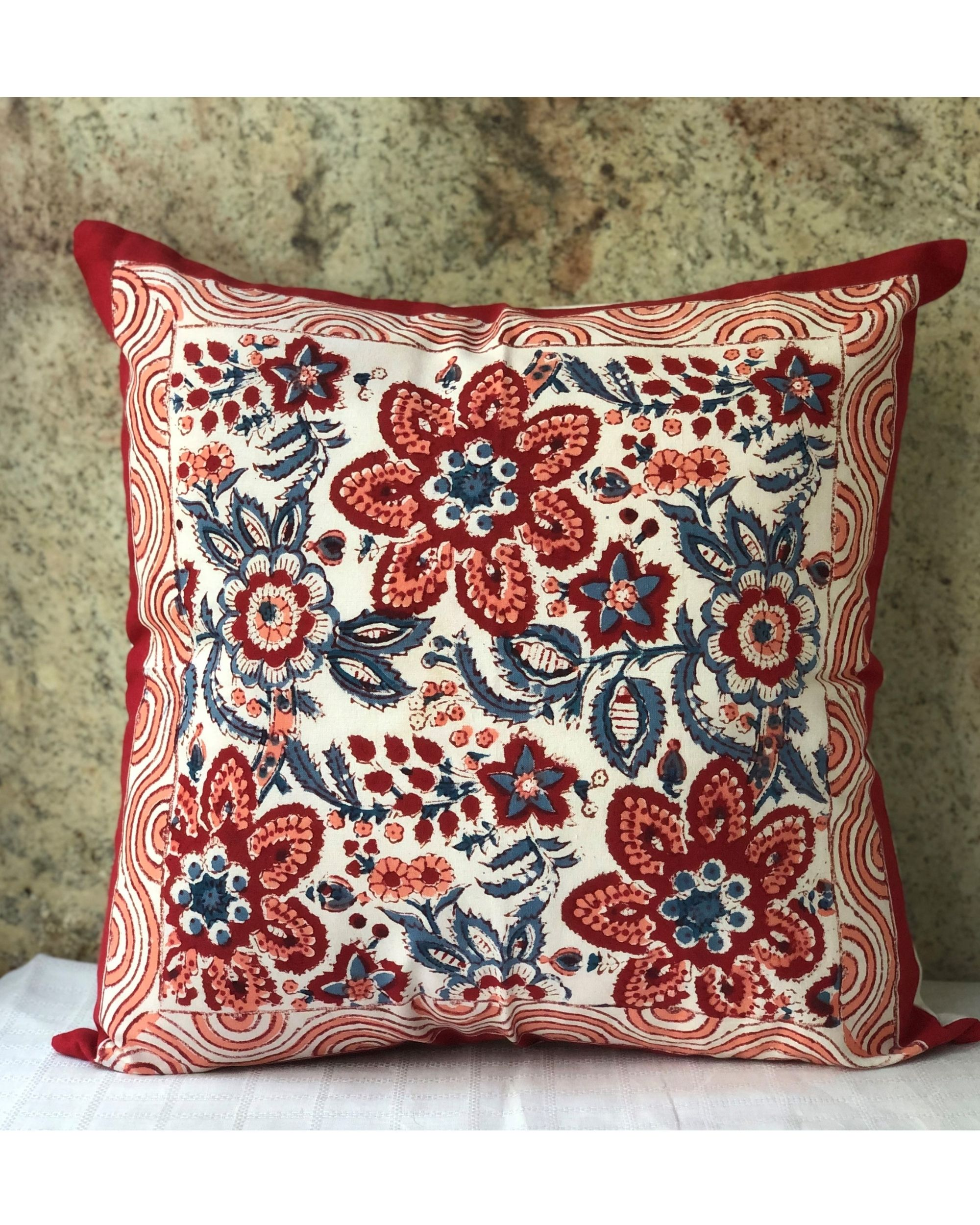 Red blooms floral hand block printed cushion cover - set of two