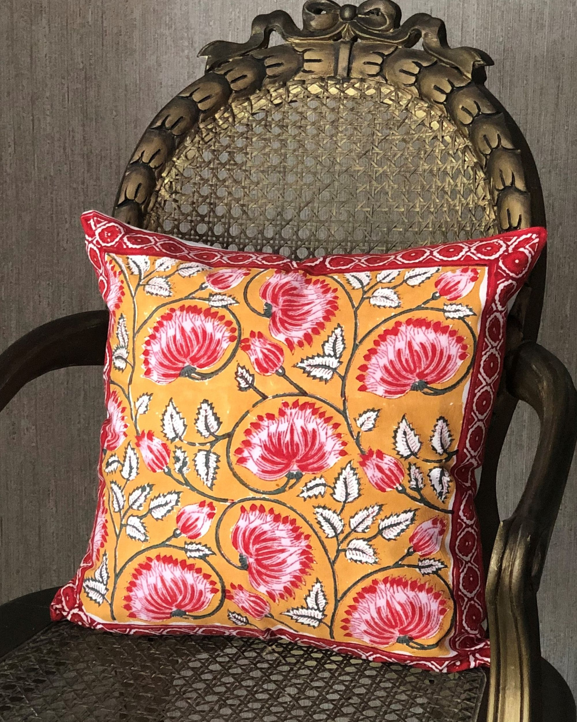 Mango yellow and pink floral hand block printed cushion cover - set of two