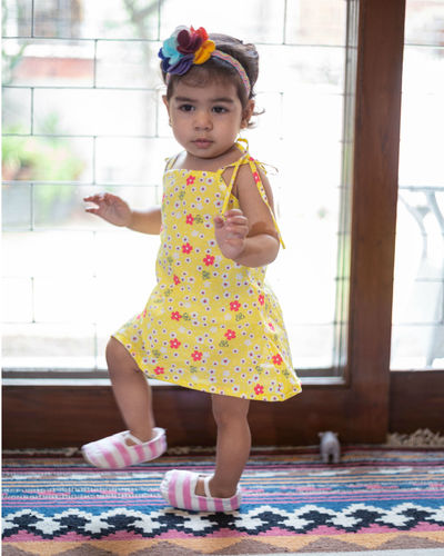 Yellow Floral Tie Up Dress