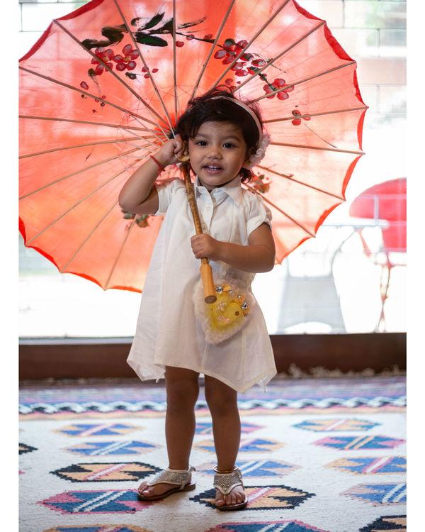 White asymmetrical short dress