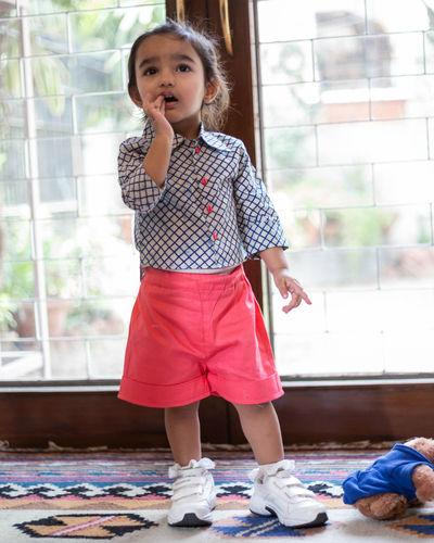 Indigo Shirt With Pink Shorts