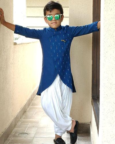 Blue White Kurta Pyjama