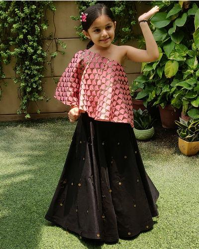 Pink And Black Skirt Set