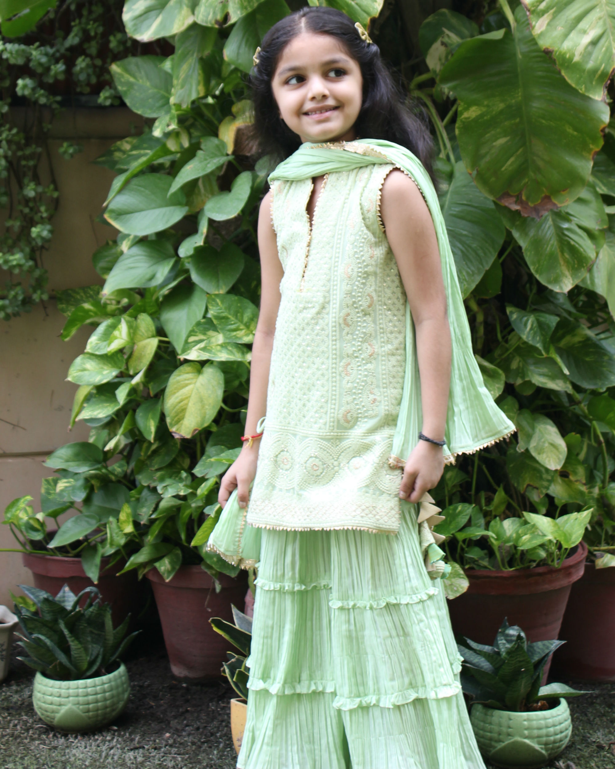 Green kurta sharara set