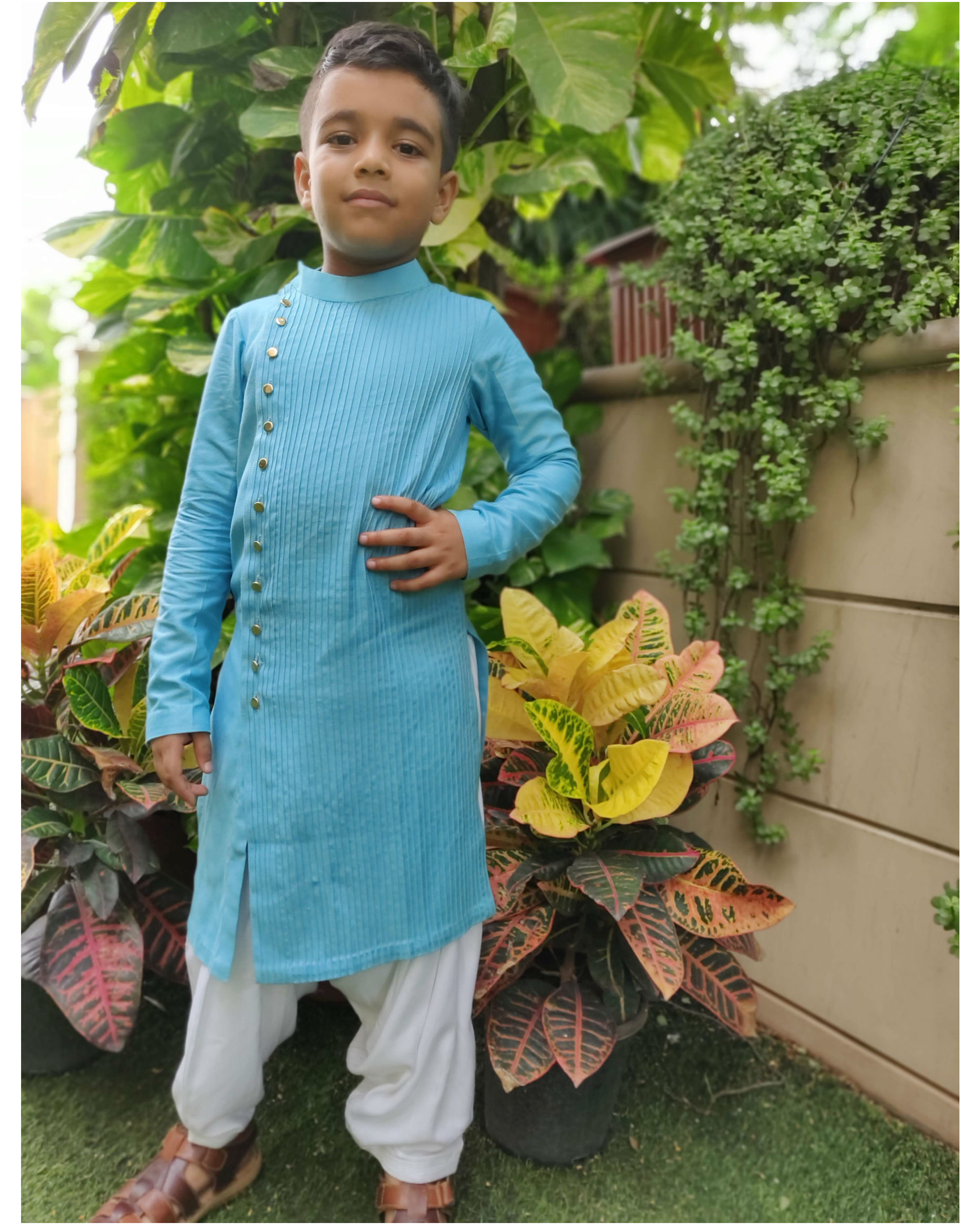Blue Bandhgala Set