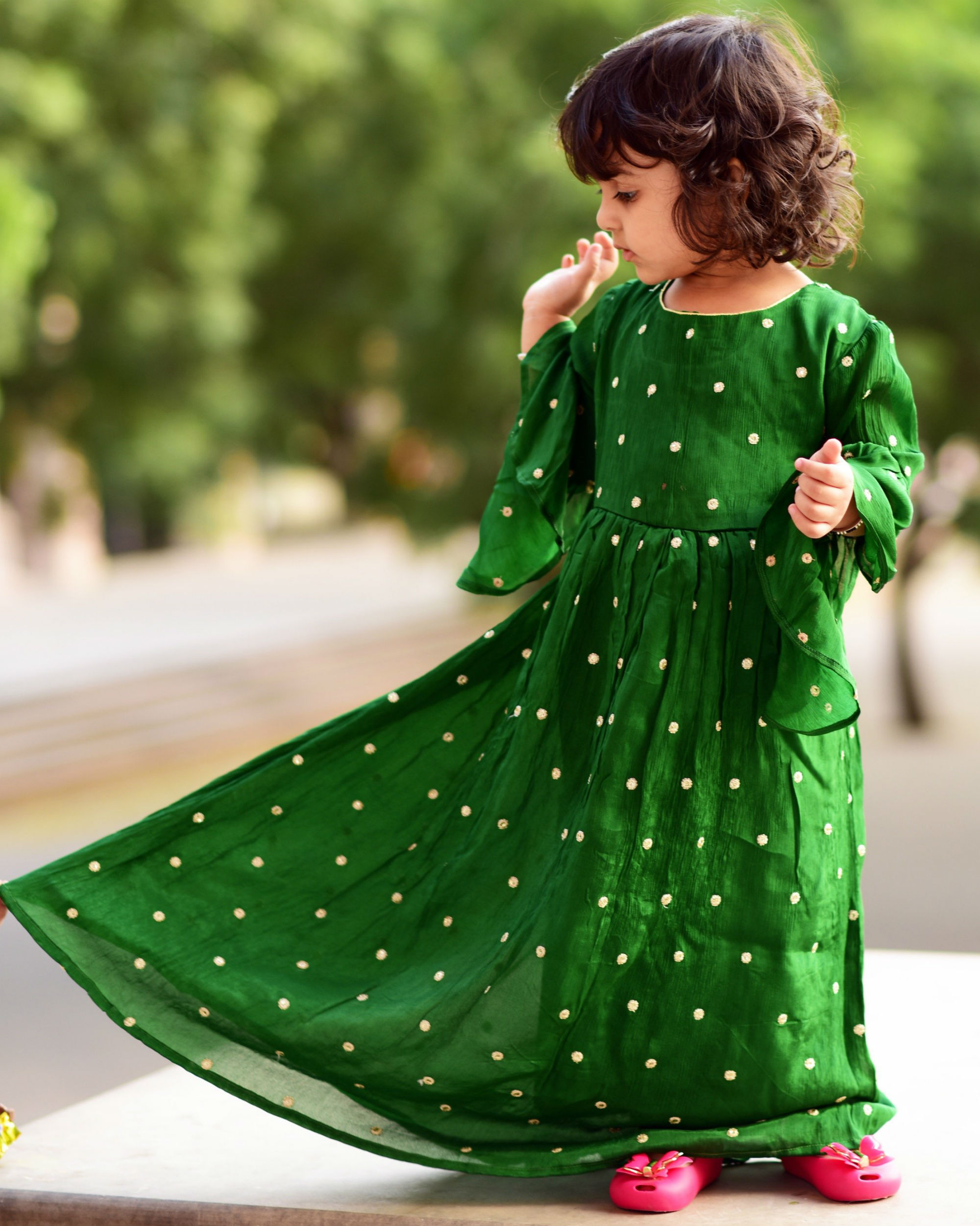 Green polka dress with bell sleeves