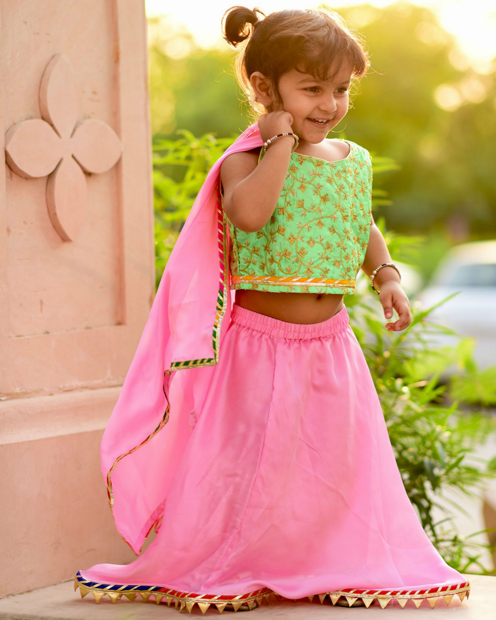 Green and pink lehanga set