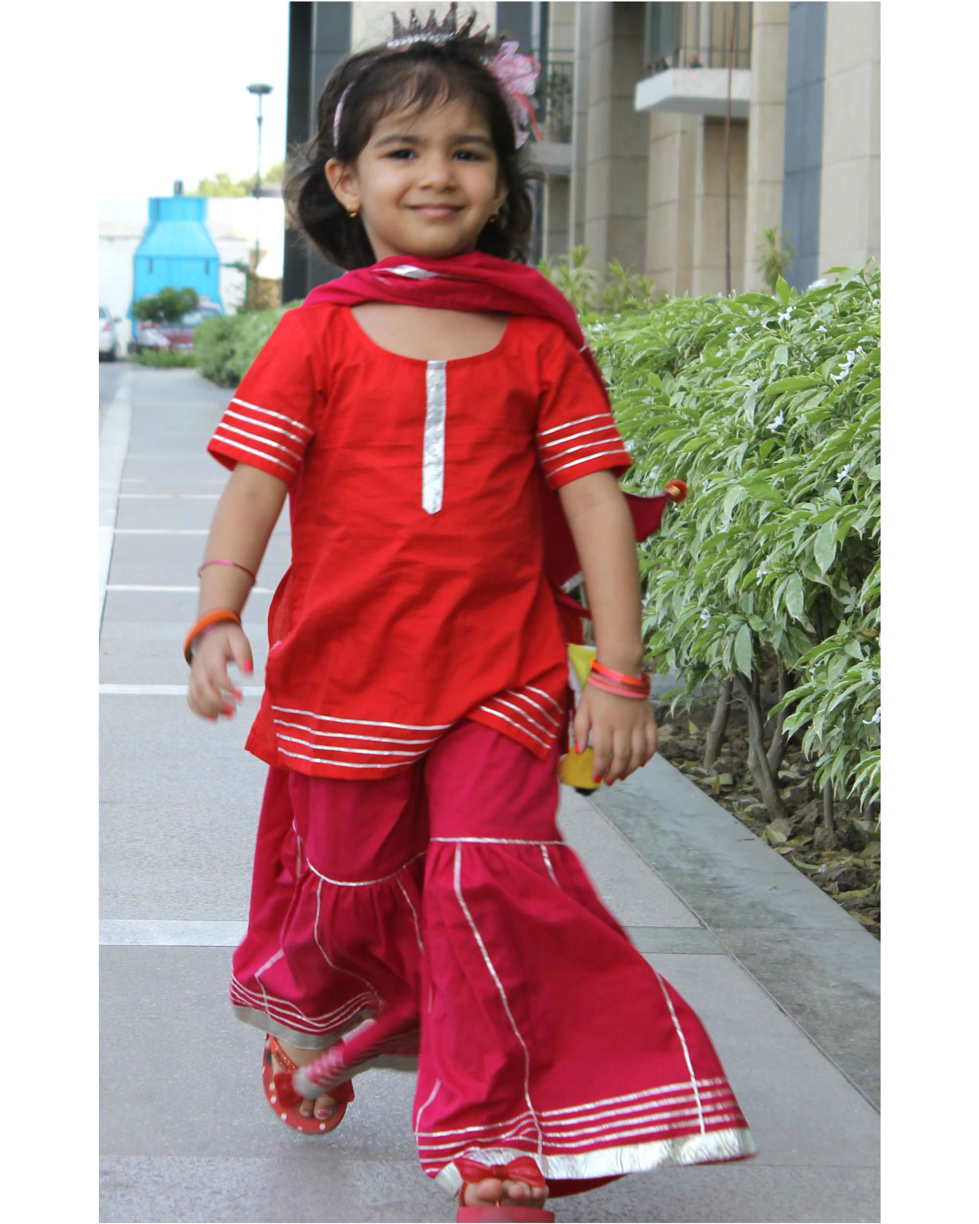 Red kurta with pink sharara set