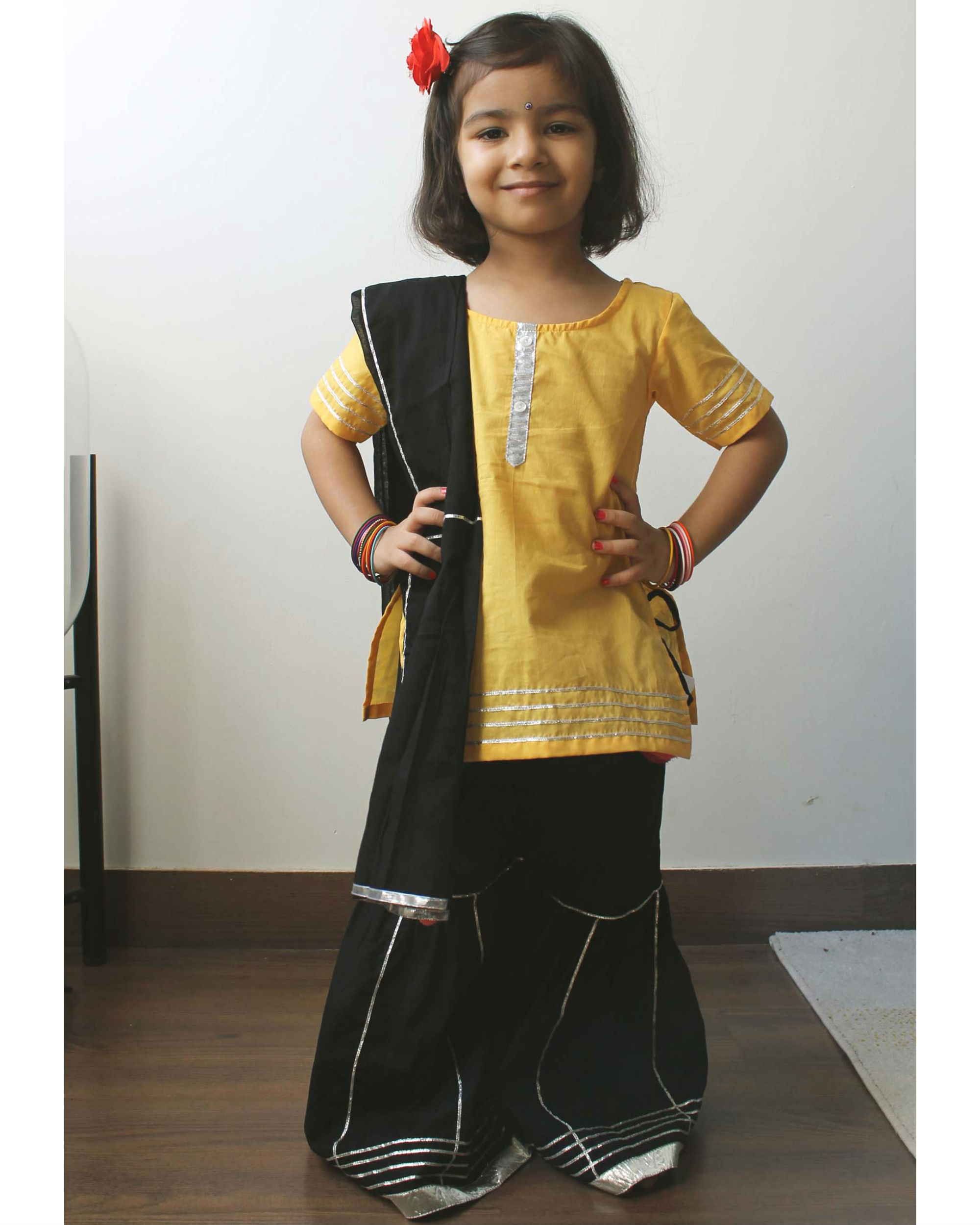 Black and yellow sharara set