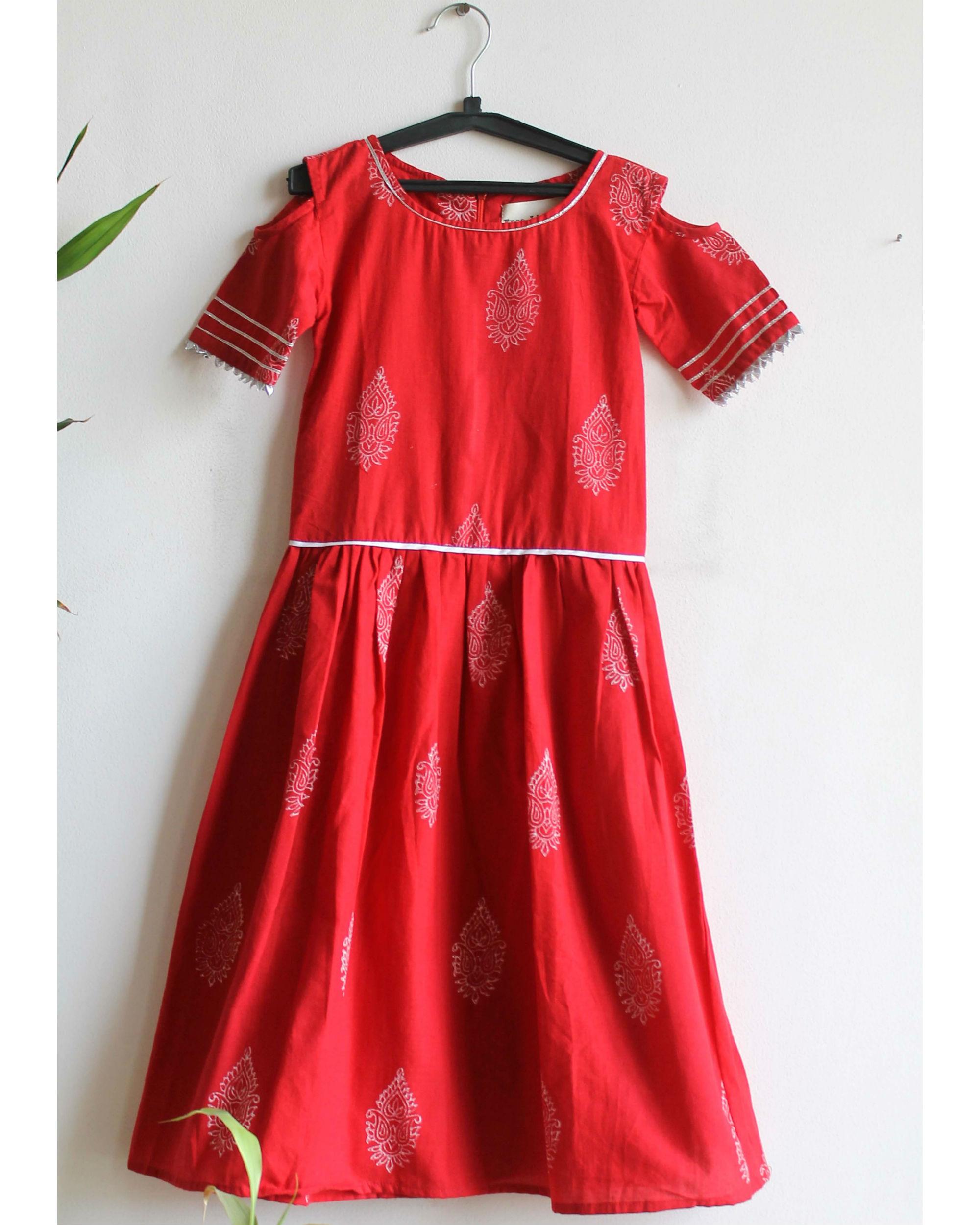 Red printed gota dress