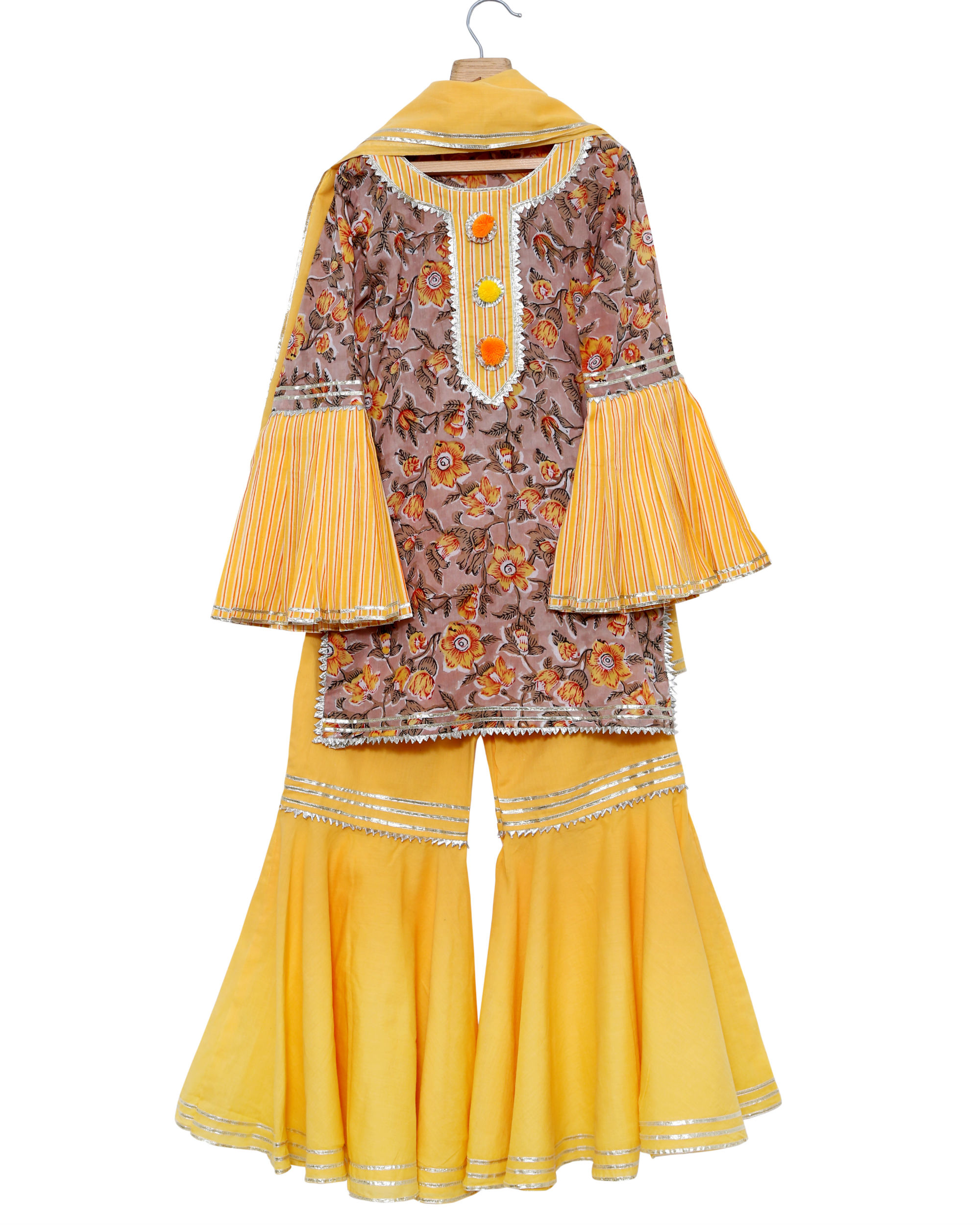 Yellow printed kurta sharara set