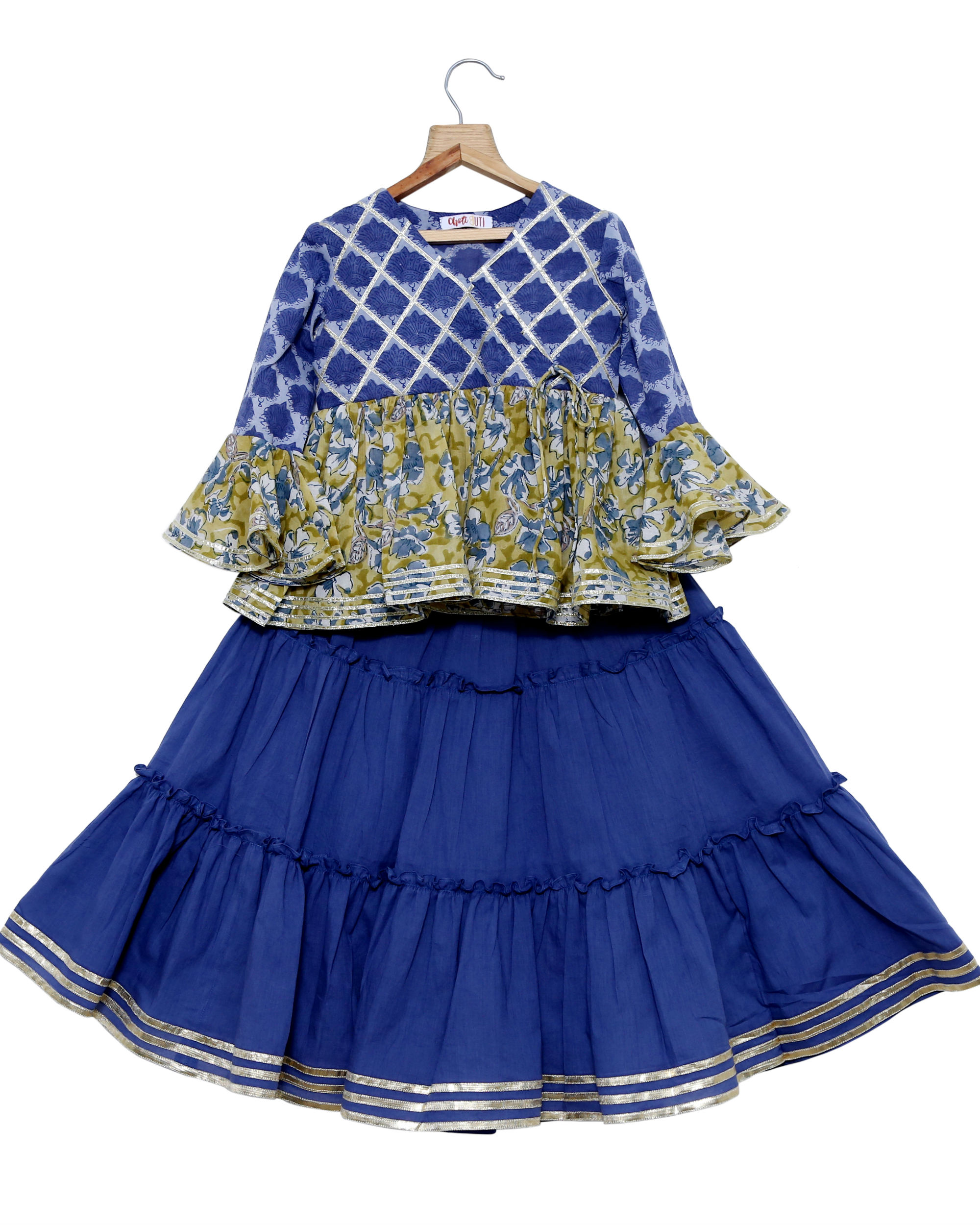 Blue peplum top skirt set