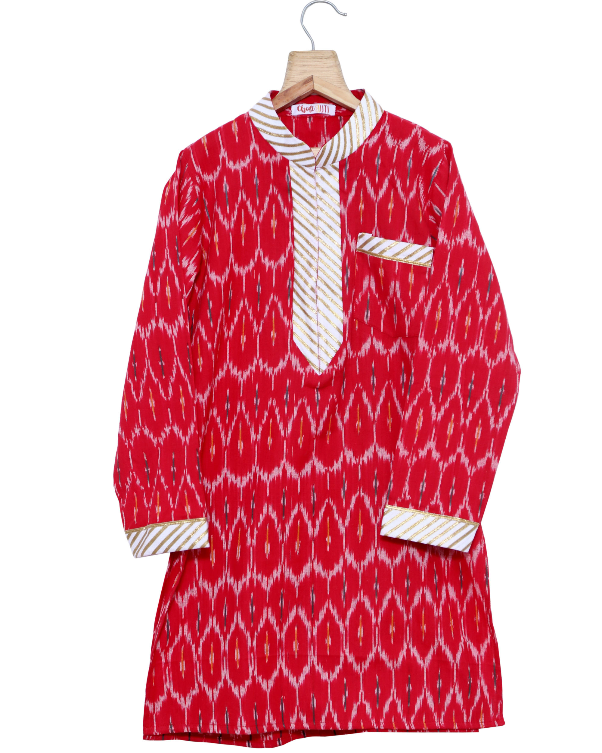 Red ikat kurta