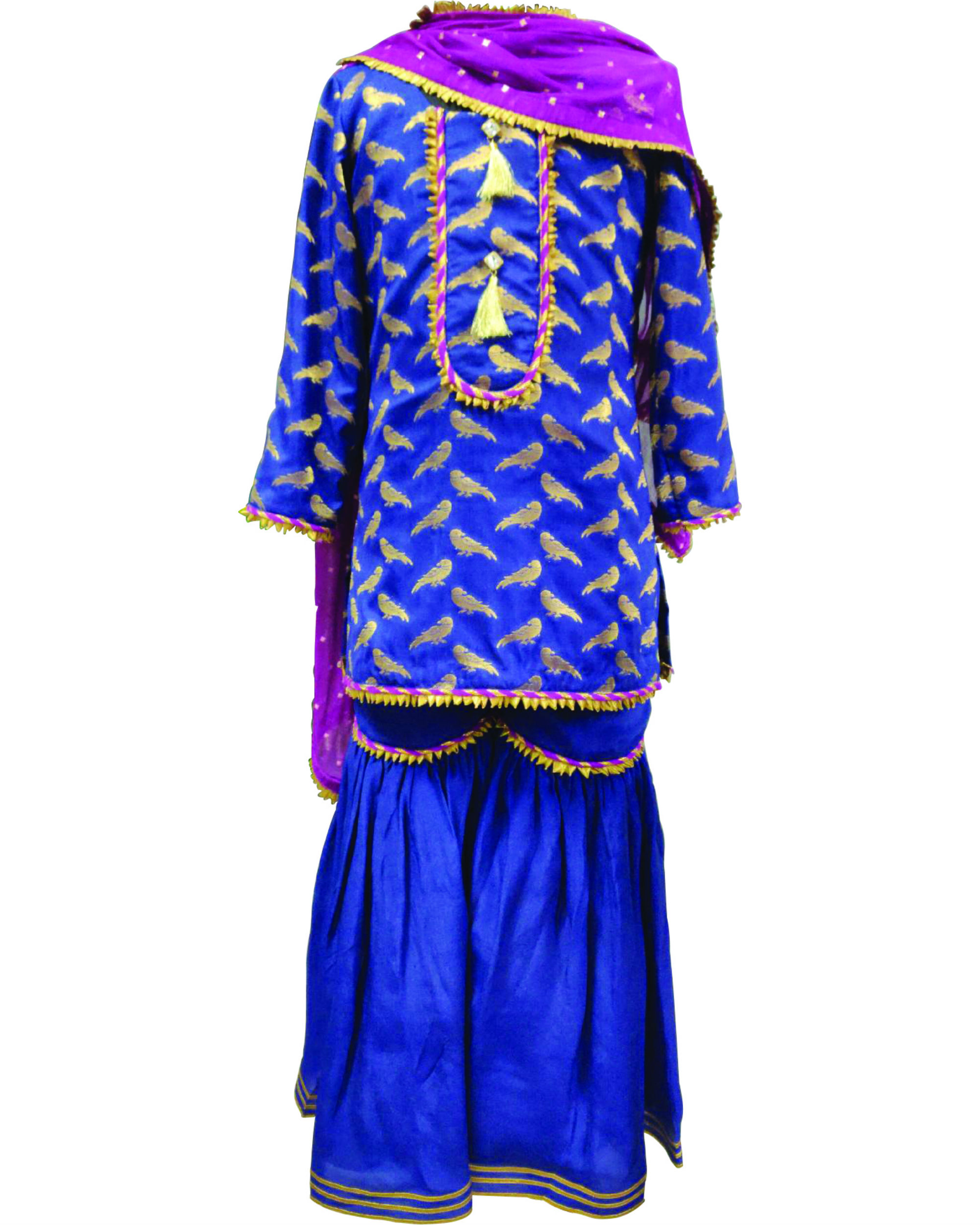Blue silk gharara set