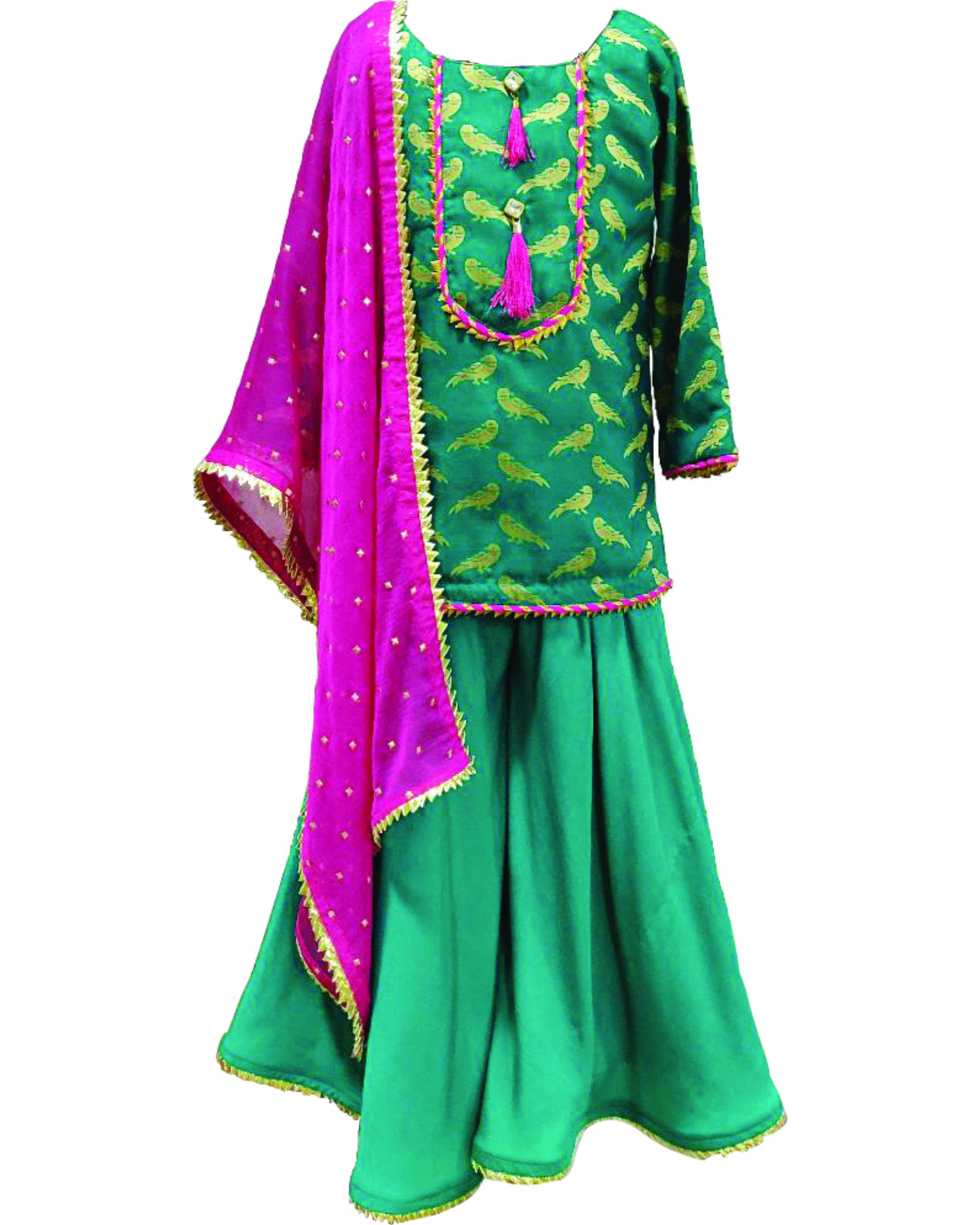Sea green ghagara set