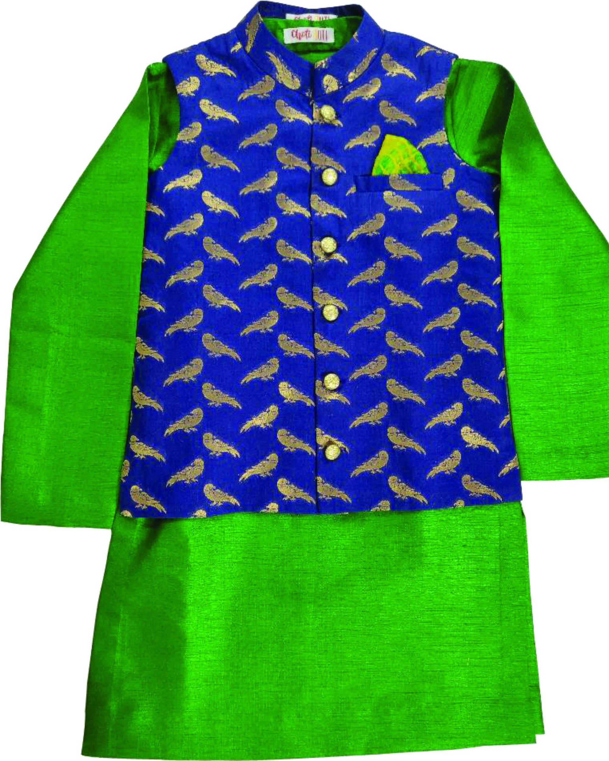 Blue kurta and jacket set
