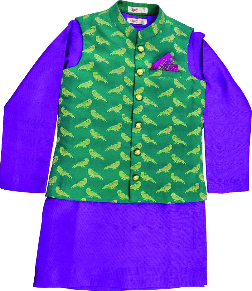 Purple kurta and jacket set