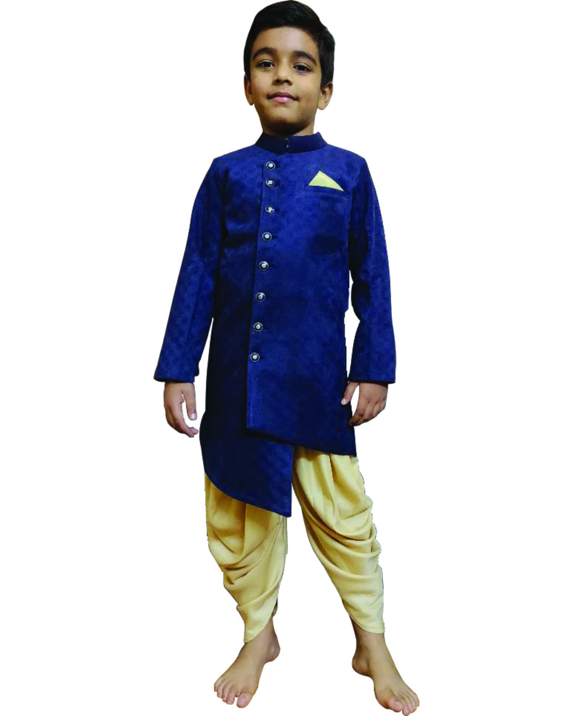 Suede sherwani with cowl pants