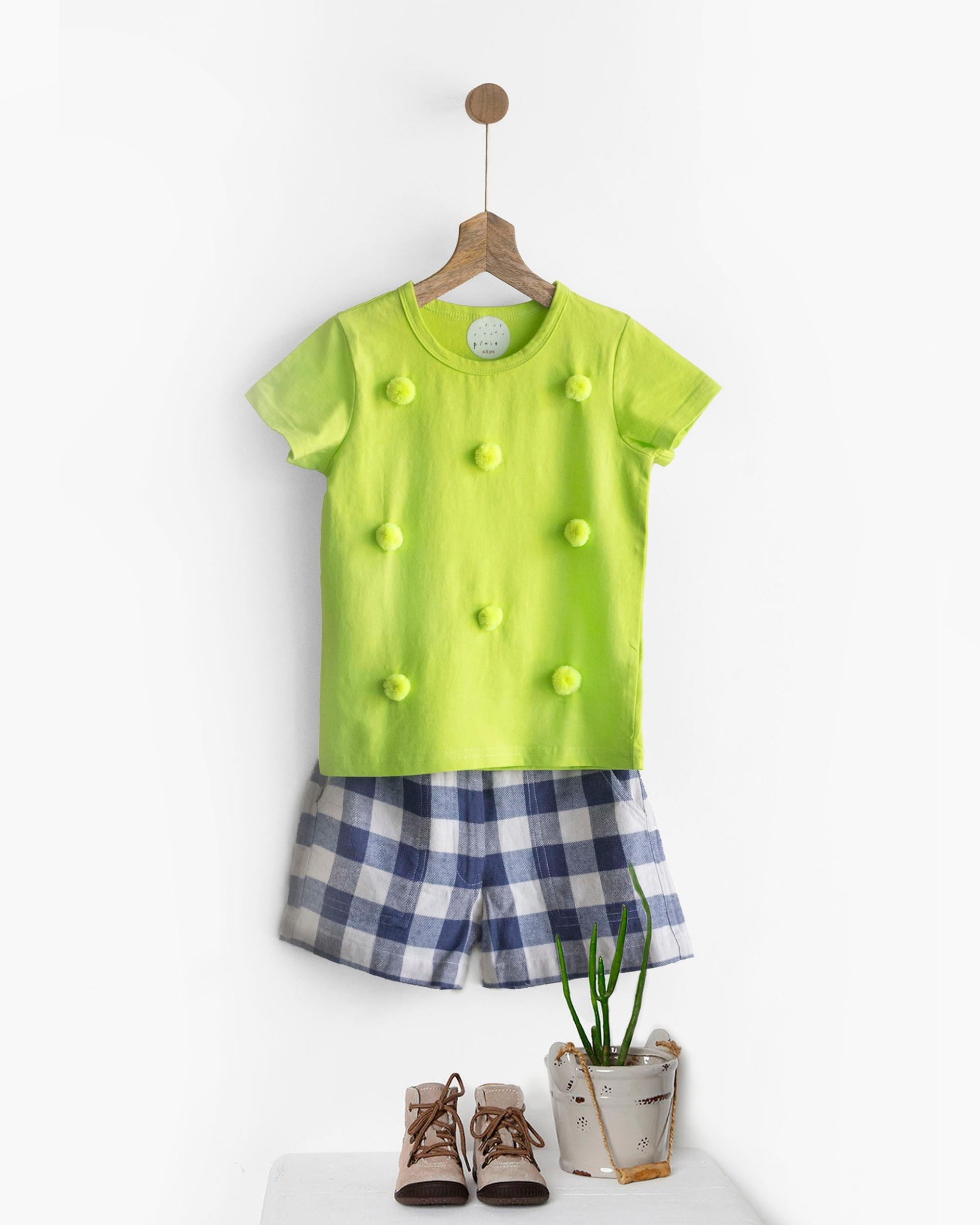 Pluie green happy pom pom tee