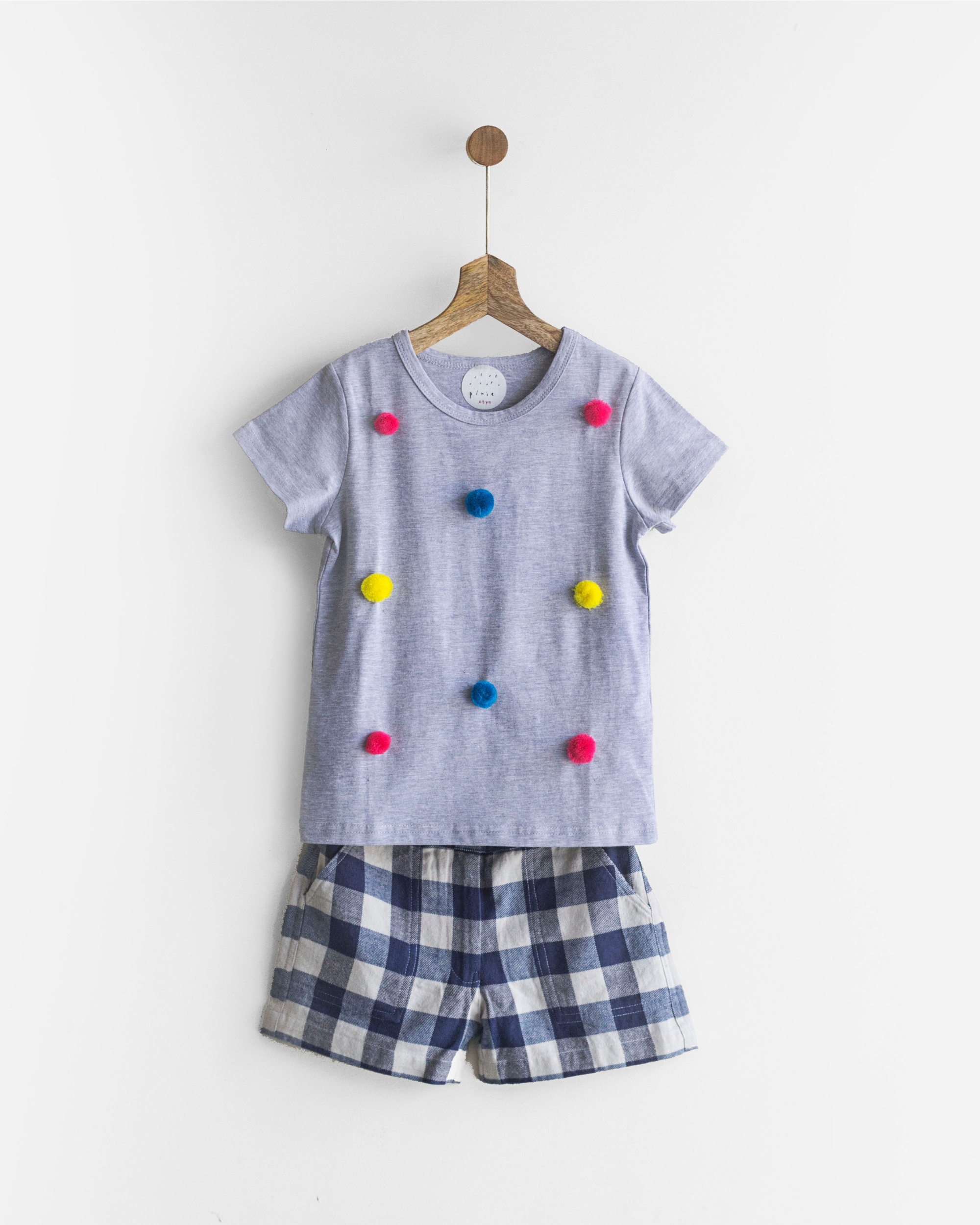 Pluie grey & rainbow happy pom pom tee