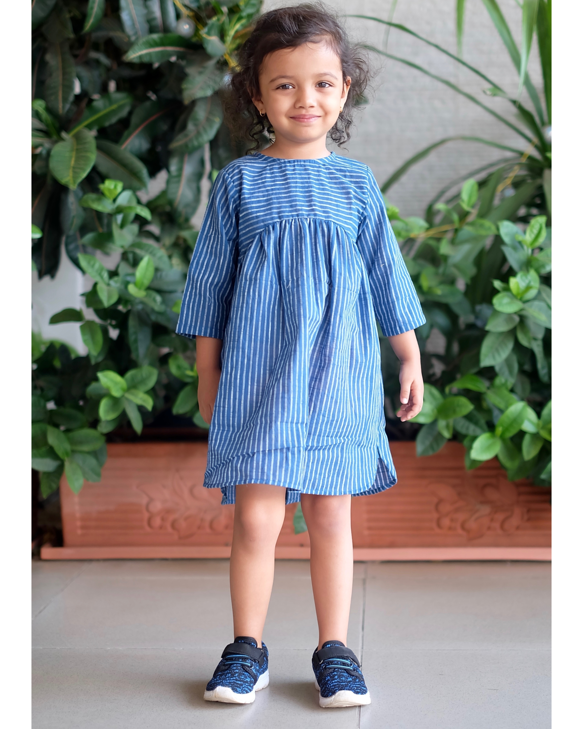 Blue and white striped yoke dress