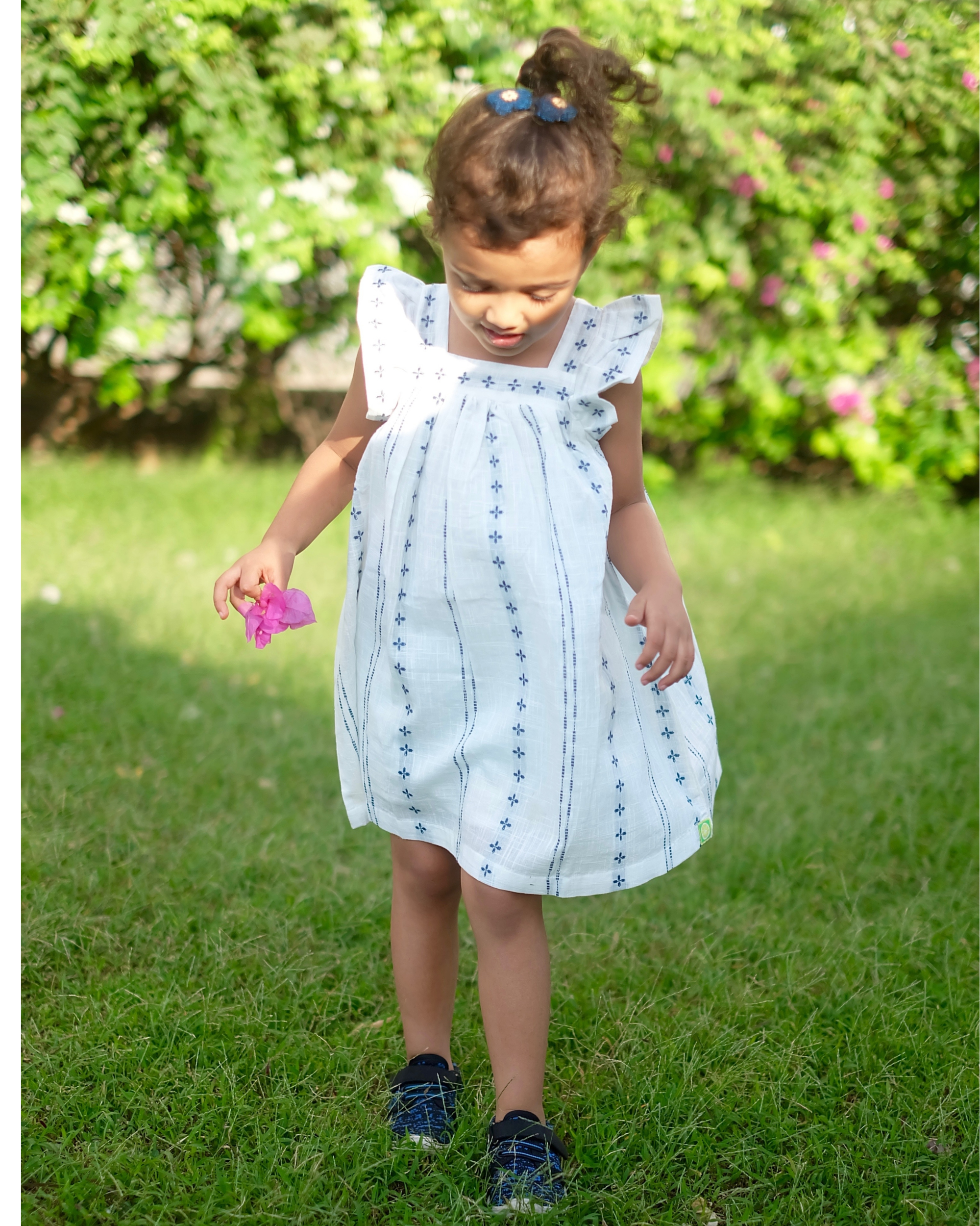White and blue printed flared dress