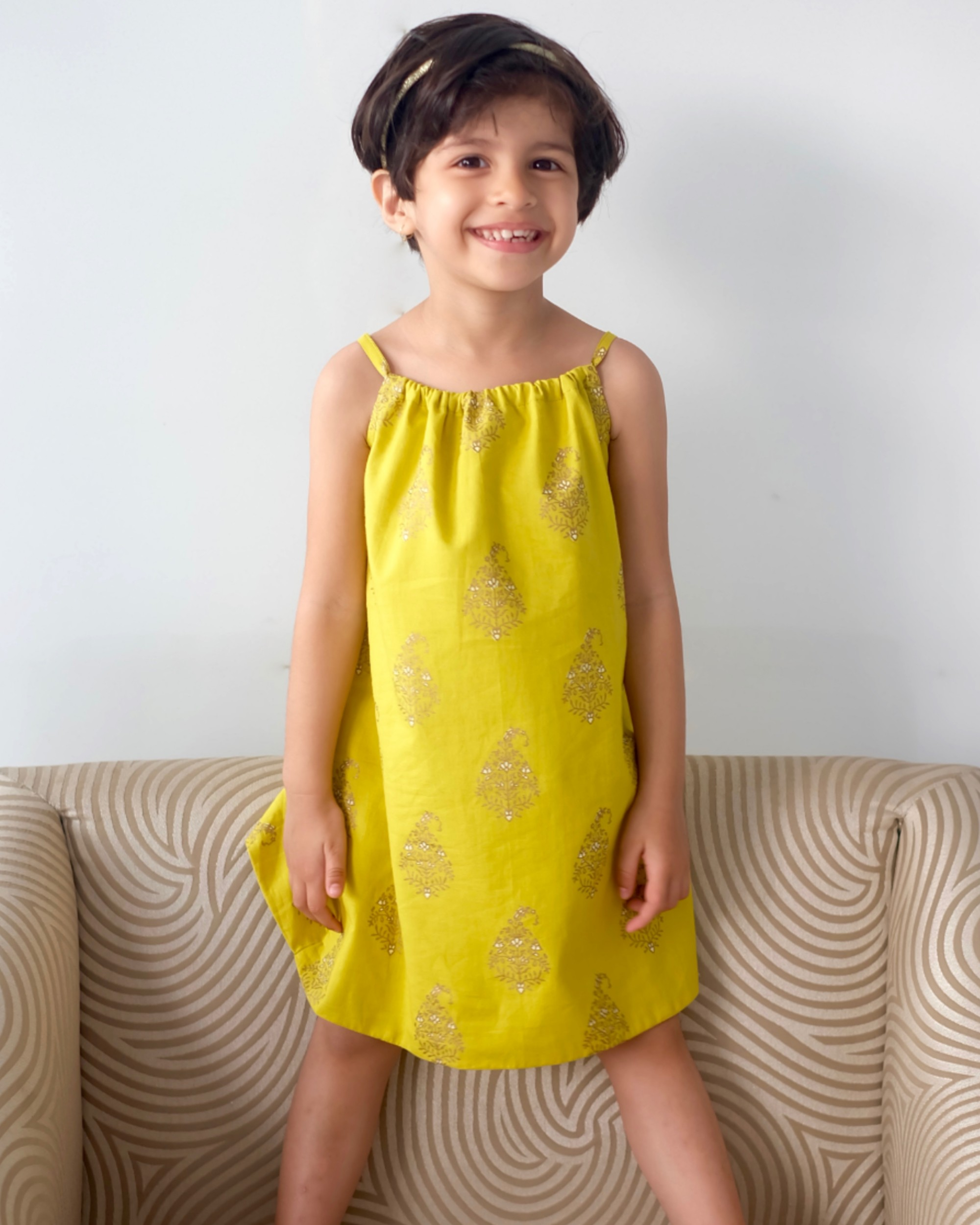 Lemon yellow floral printed knotty dress